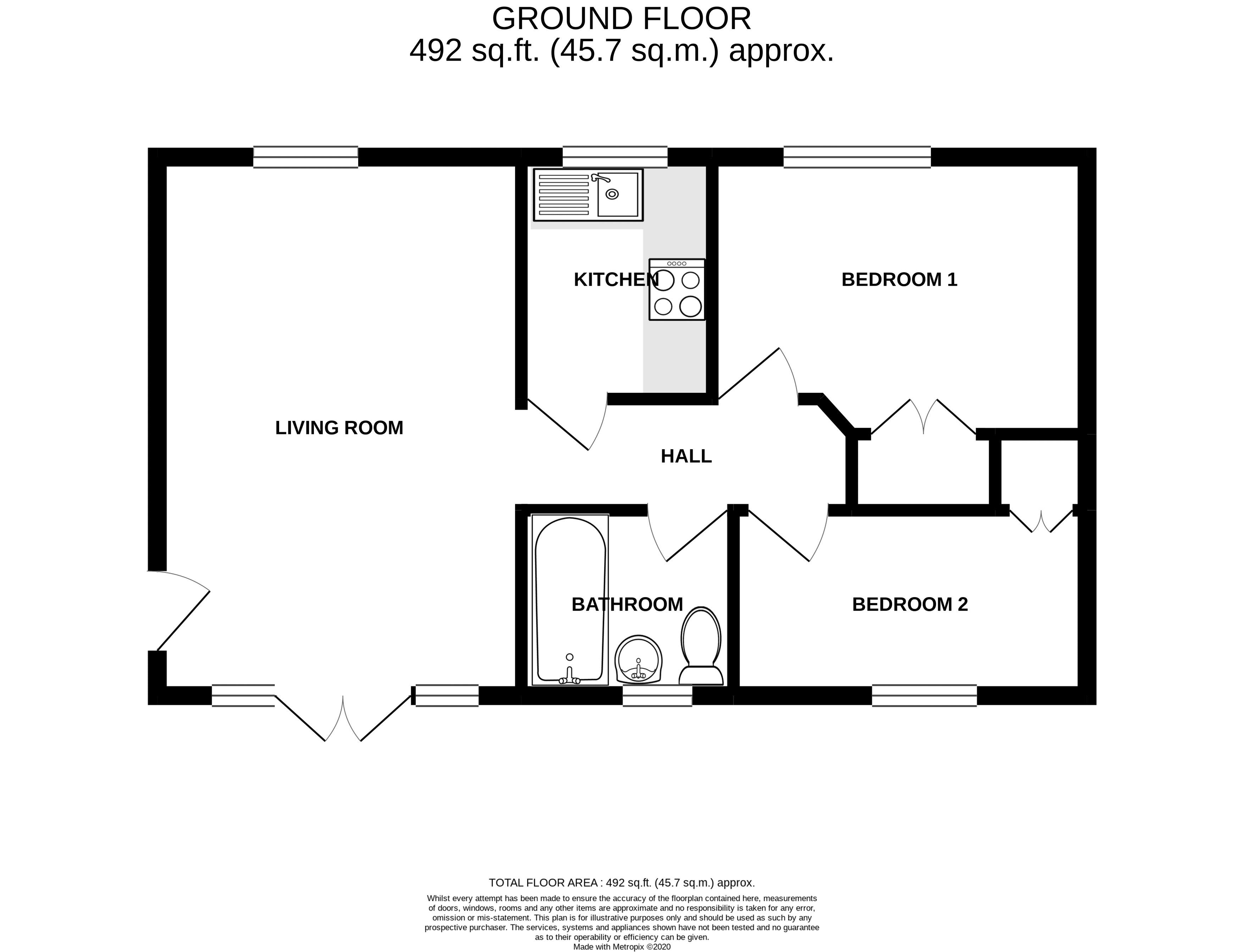 2 bed flat for sale in Davys Court, Chichester - Property Floorplan