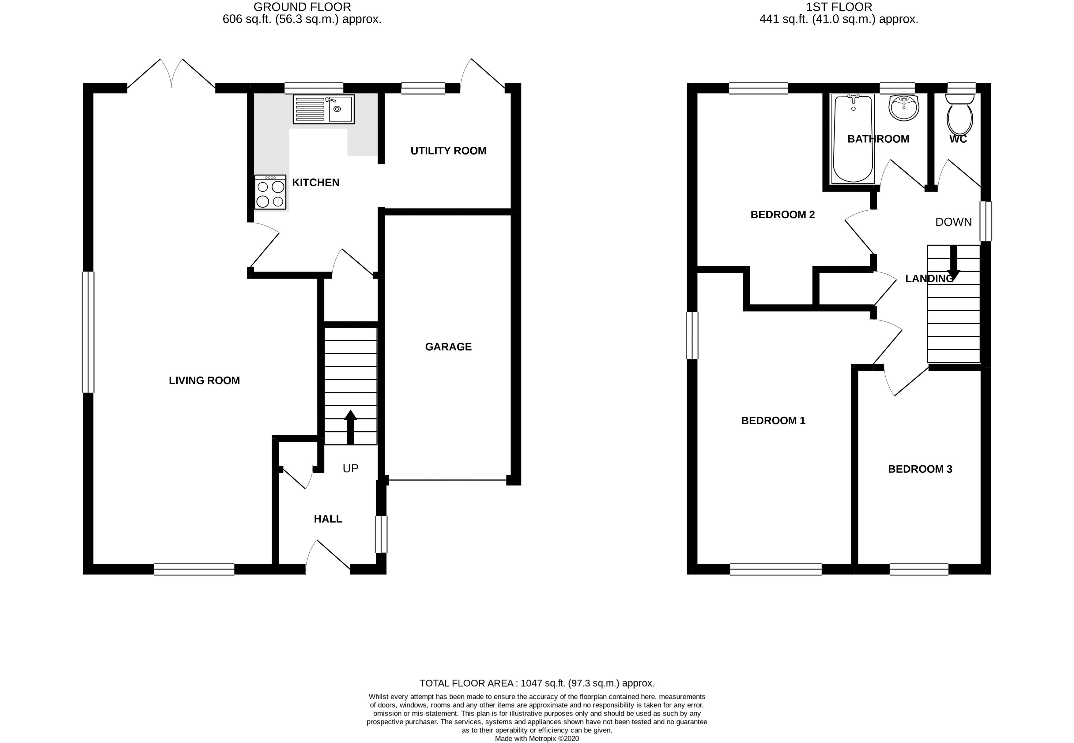 3 bed house for sale in Downview Close, Arundel - Property Floorplan