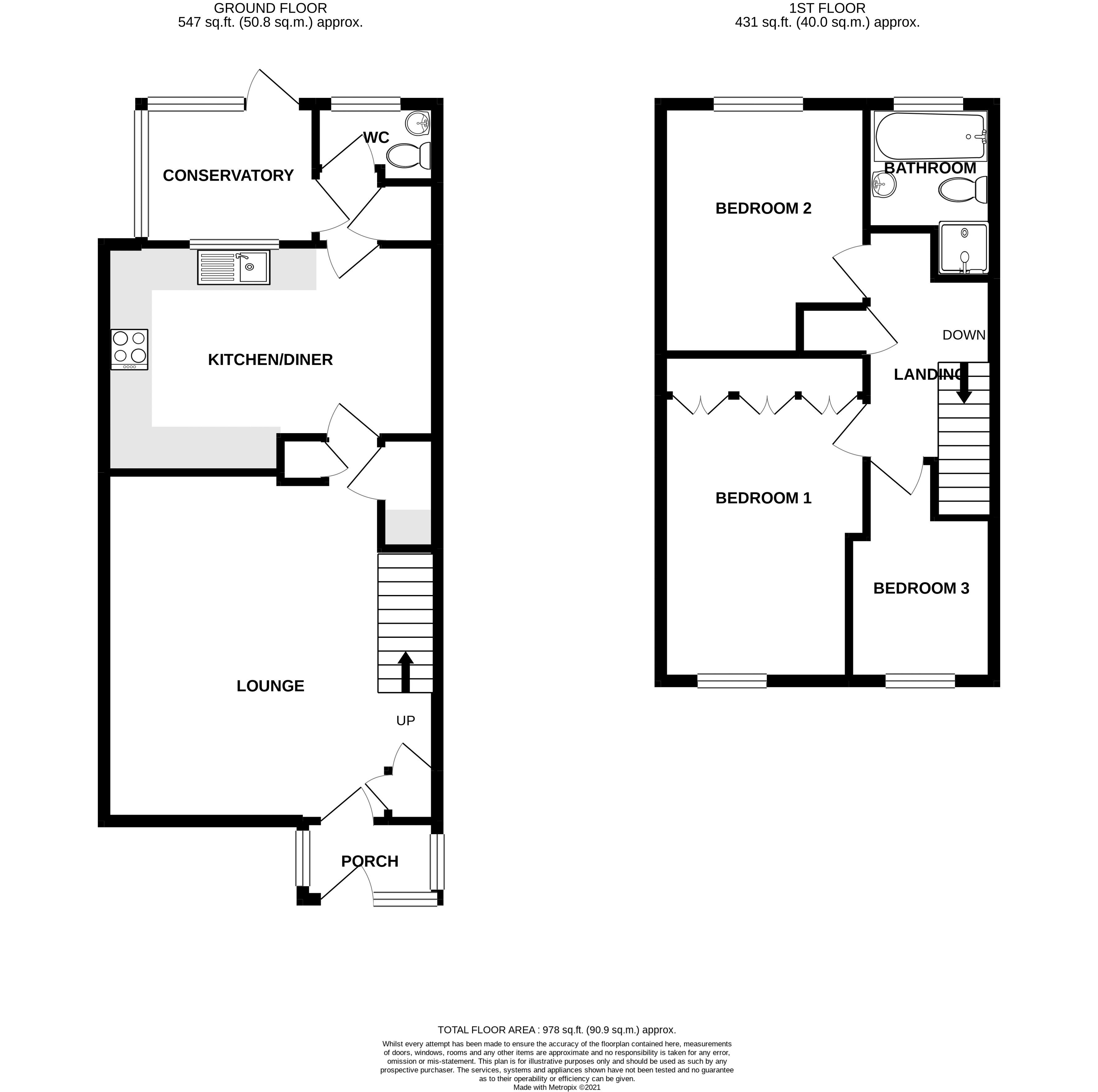 3 bed house for sale in The Pitcroft, Chichester - Property Floorplan