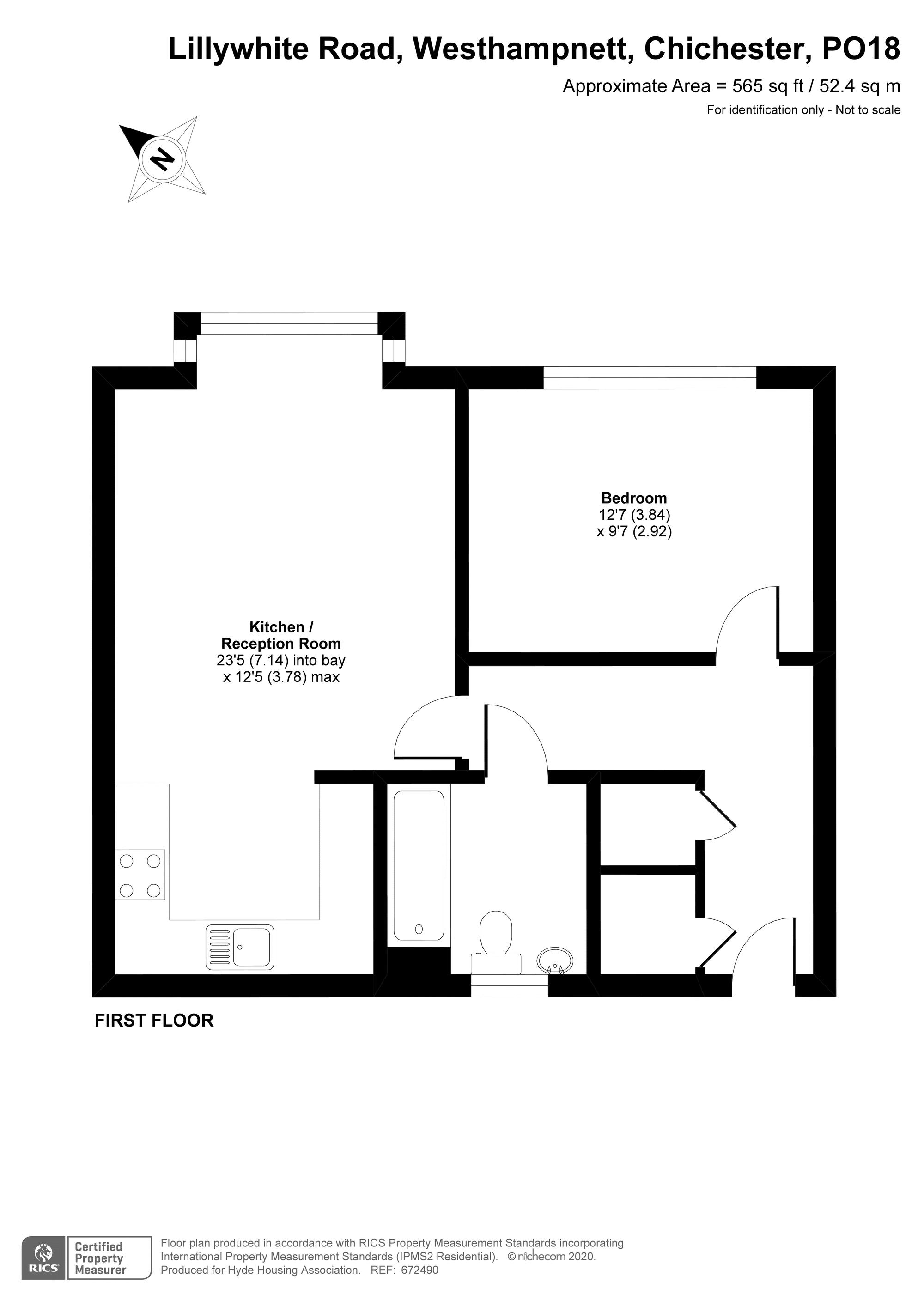 1 bed flat for sale in Lillywhite Road, Chichester - Property Floorplan