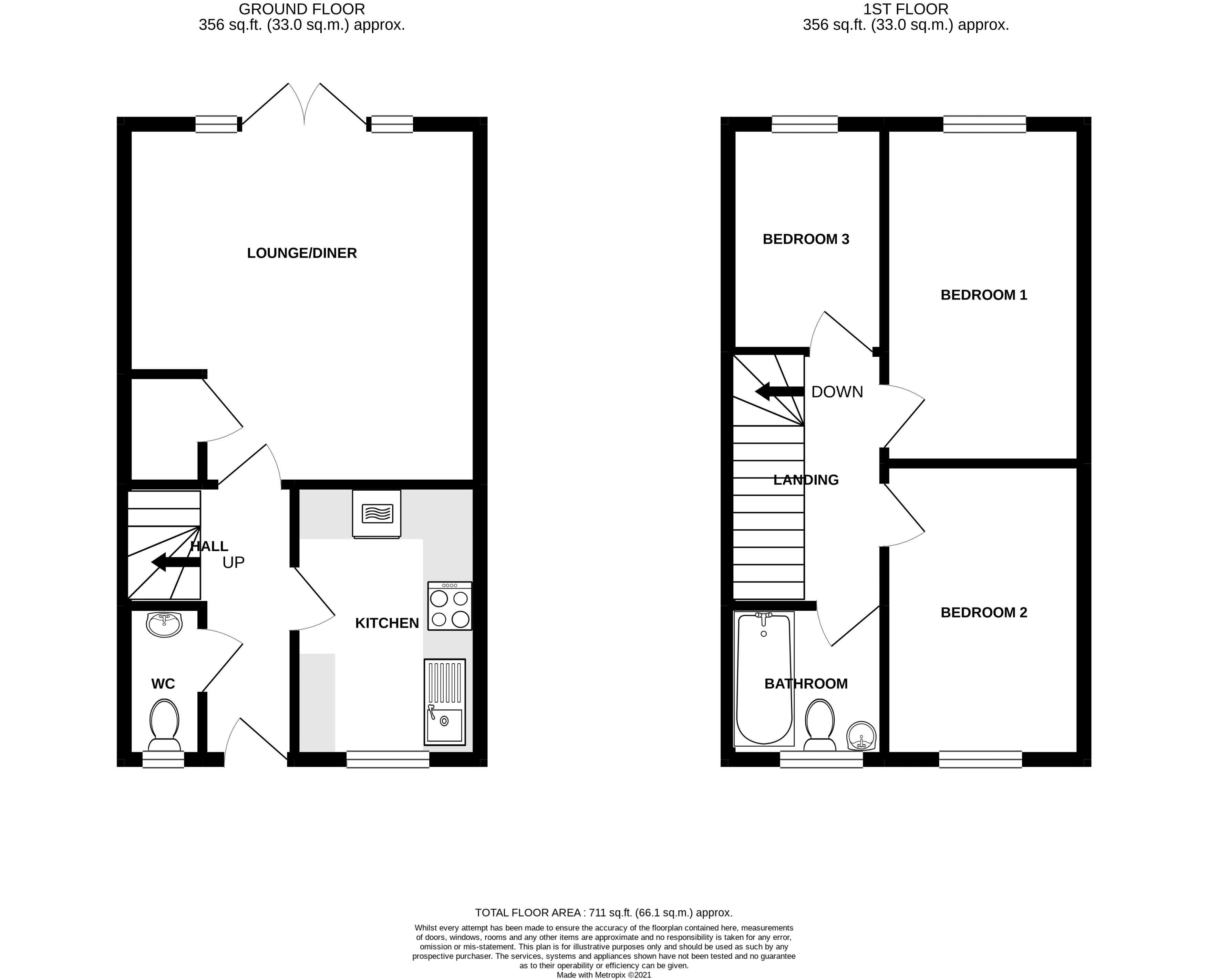 3 bed house for sale in Squires Grove, Chichester - Property Floorplan