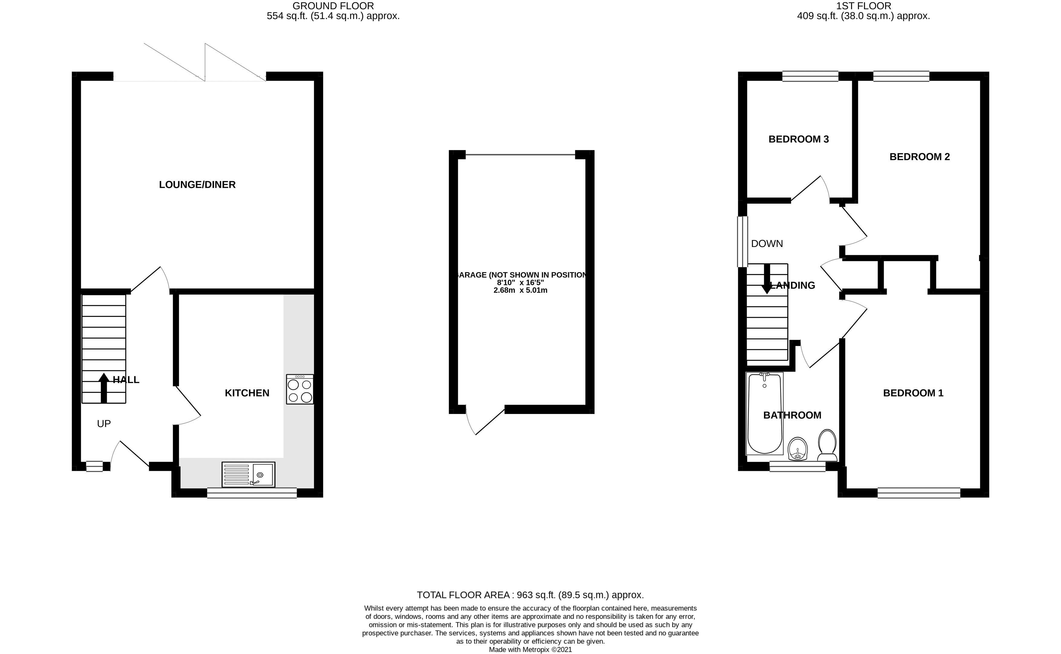 3 bed house for sale in Gainsborough Drive, Chichester - Property Floorplan