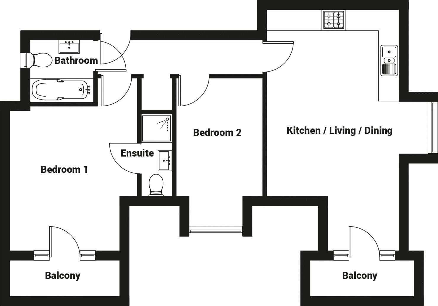 2 bed flat for sale in Stocks Lane, Chichester - Property Floorplan