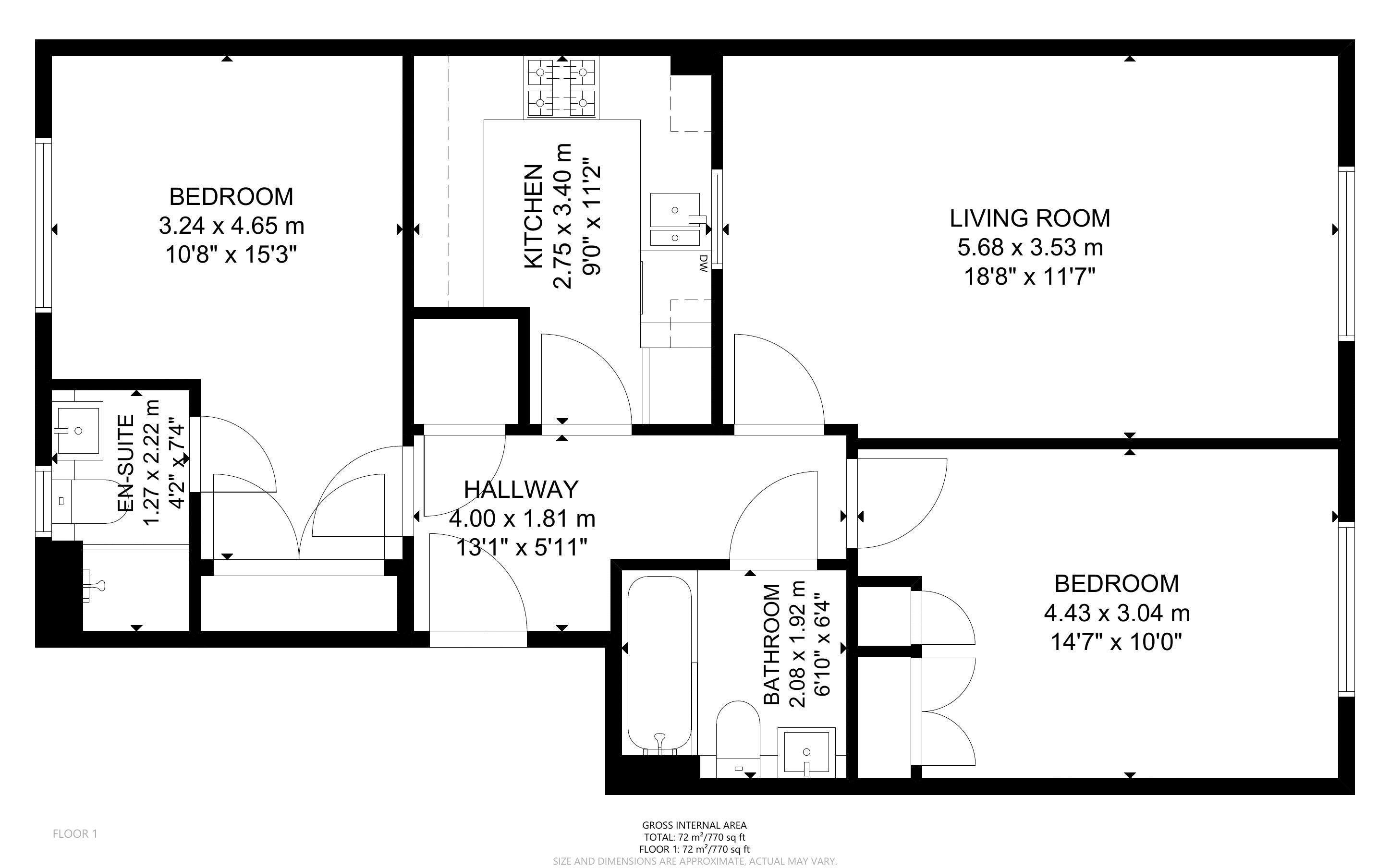 2 bed flat for sale in Tilemakers Close, Chichester - Property Floorplan