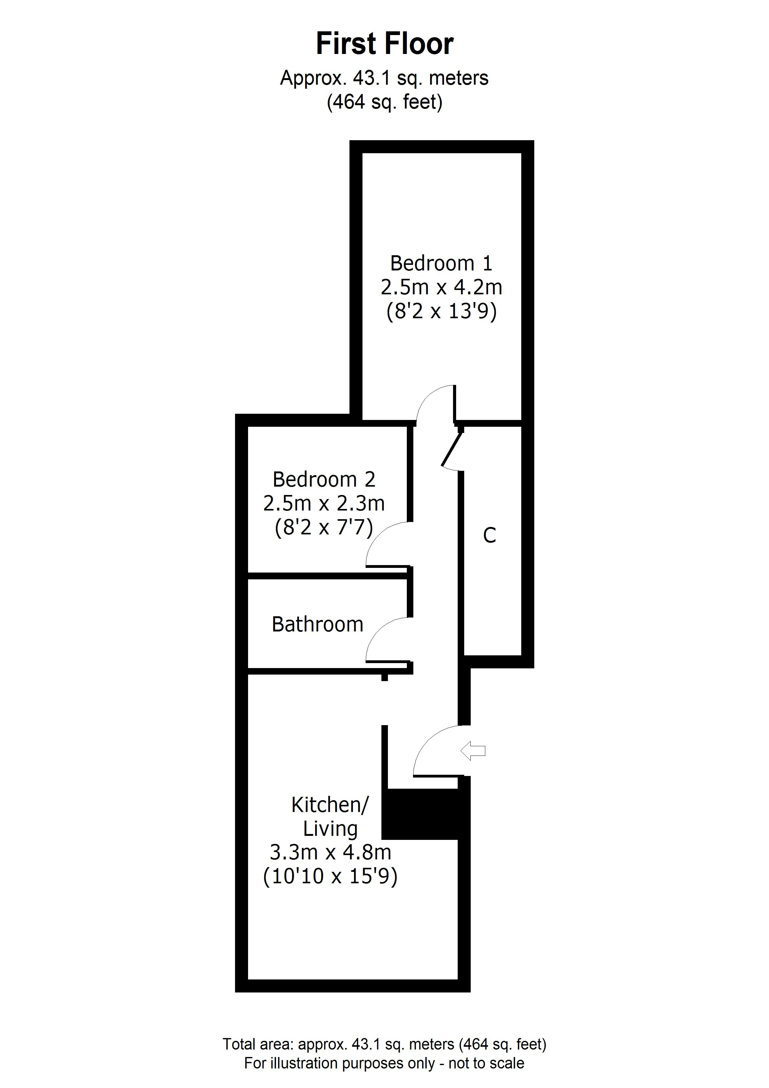 2 bed flat for sale in Ordnance Terrace, Chatham - Property Floorplan