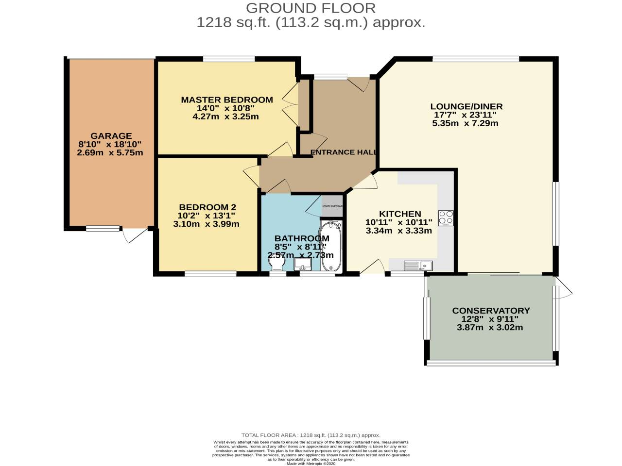 2 bed bungalow for sale in Martins Drive, Ferndown - Property Floorplan