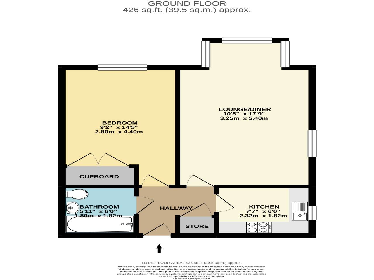 1 bed flat for sale in St Clements Court, 65 Cleveland Road - Property Floorplan