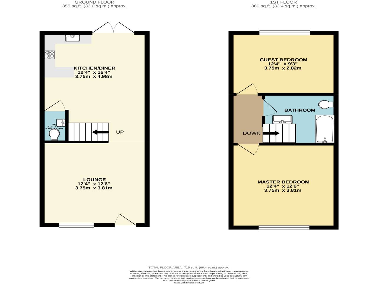 2 bed terraced house for sale in Bournemouth - Property Floorplan
