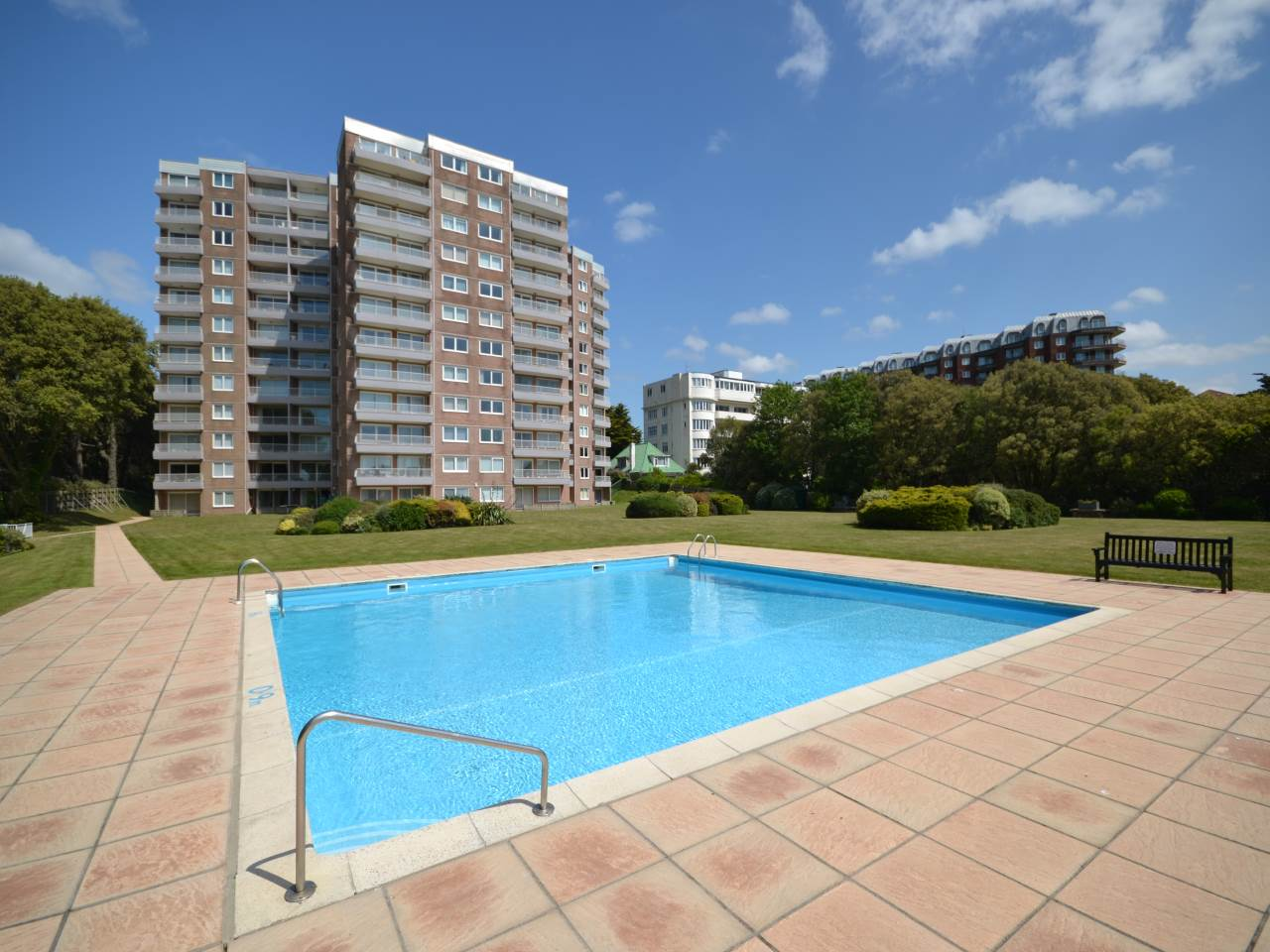 SUPERB SEA VIEW APARTMENT* TWO DOUBLE BEDROOMS * SHARE OF FREEHOLD*MODERN EN SUITES TO BOTH BEDROOMS * LOUNGE/DINING ROOM WITH SOUTH WEST FACING BALCONY* MODERN KITCHEN* SECURE UNDERGROUND GARAGE * HEATED OUTDOOR SWIMMING POOL* NO CHAIN*