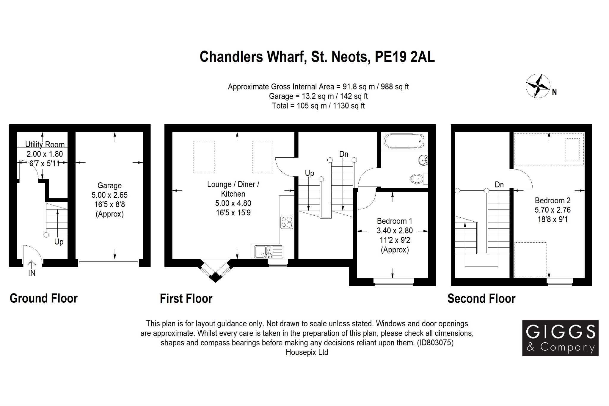 2 bed town house for sale in Chandlers Wharf, St. Neots - Property Floorplan
