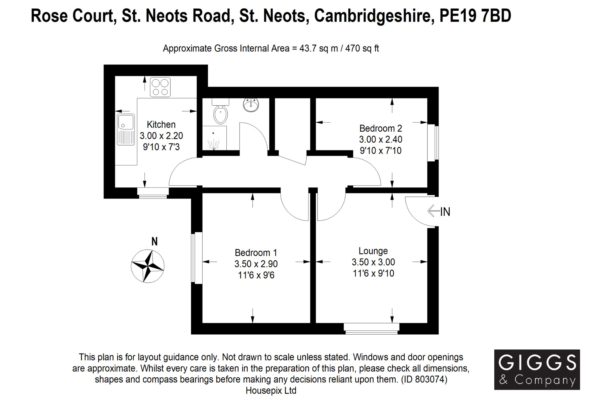 2 bed ground floor maisonette for sale in Rose Court, St. Neots Road, St. Neots - Property Floorplan