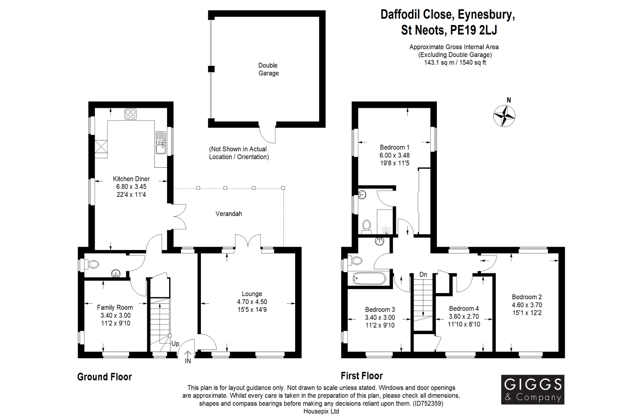 4 bed detached house for sale in Daffodil Close, St. Neots - Property Floorplan