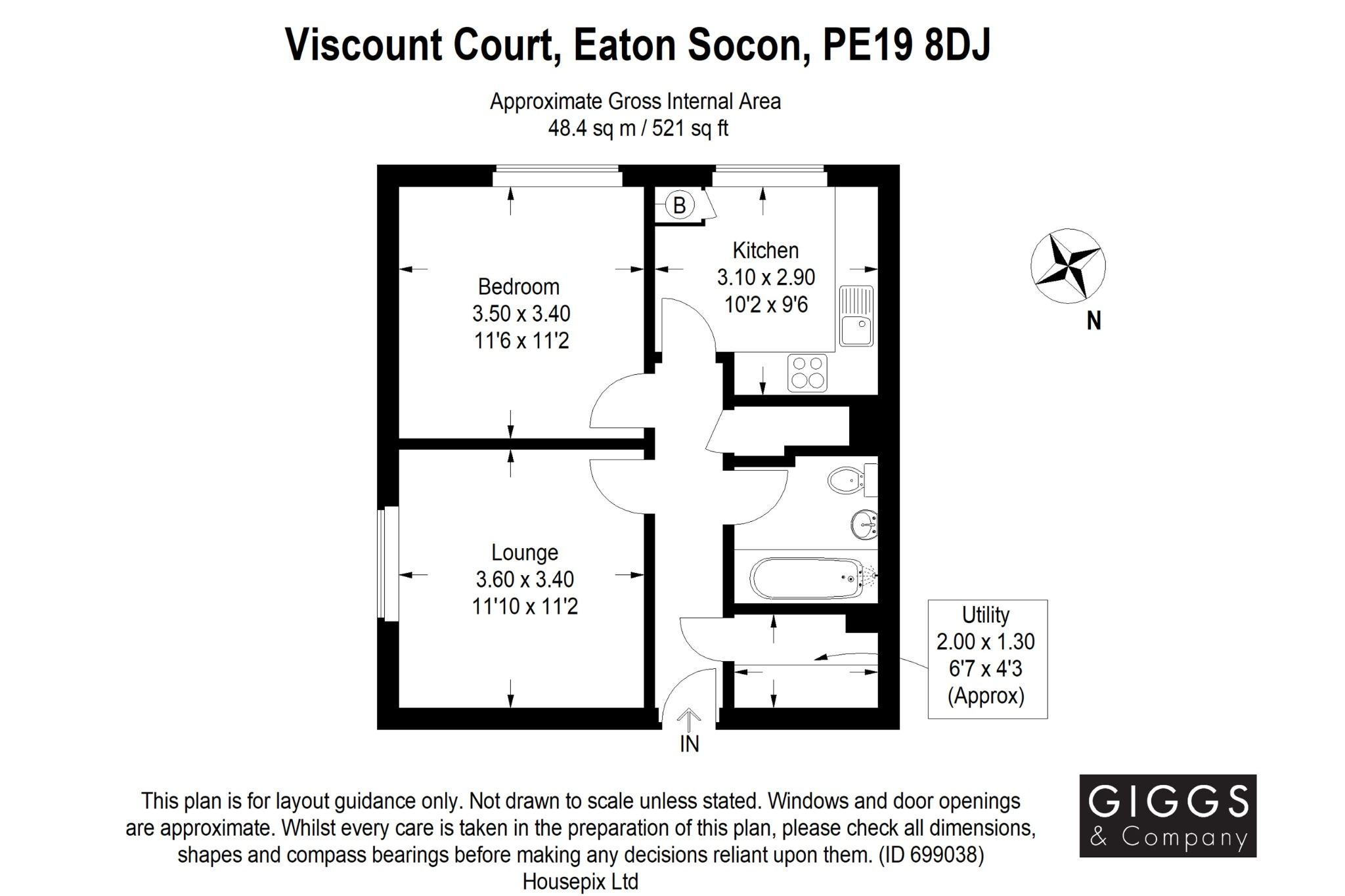 1 bed flat for sale in Viscount Court, St. Neots - Property Floorplan