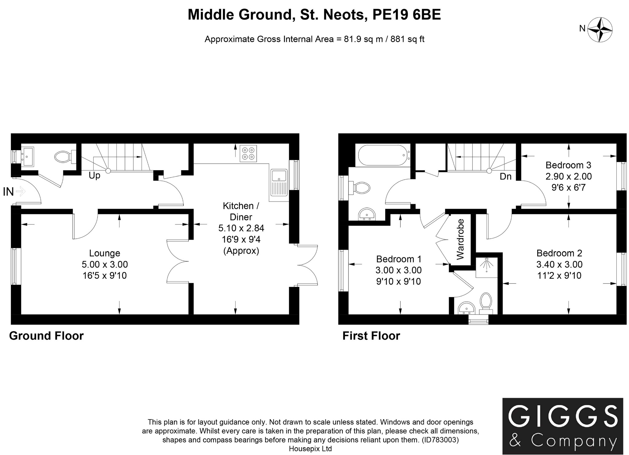 3 bed semi-detached house for sale in Middle Ground, St. Neots - Property Floorplan