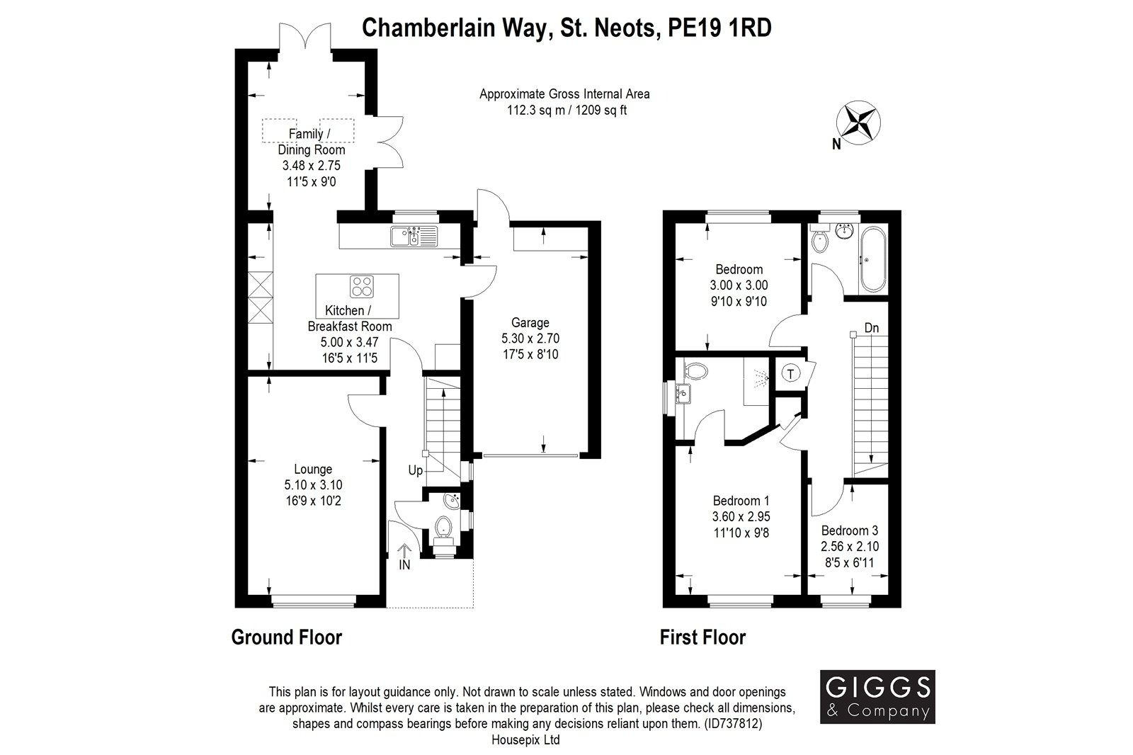 3 bed detached house for sale in Chamberlain Way, St. Neots - Property Floorplan