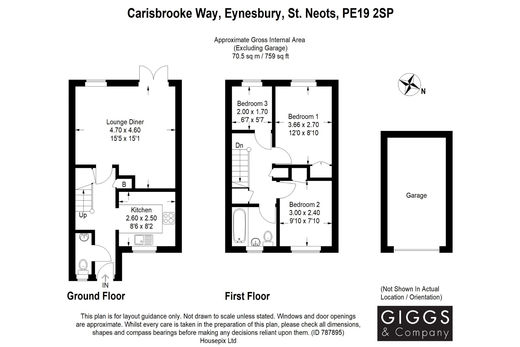 3 bed semi-detached house for sale in Carisbrooke Way, St. Neots - Property Floorplan