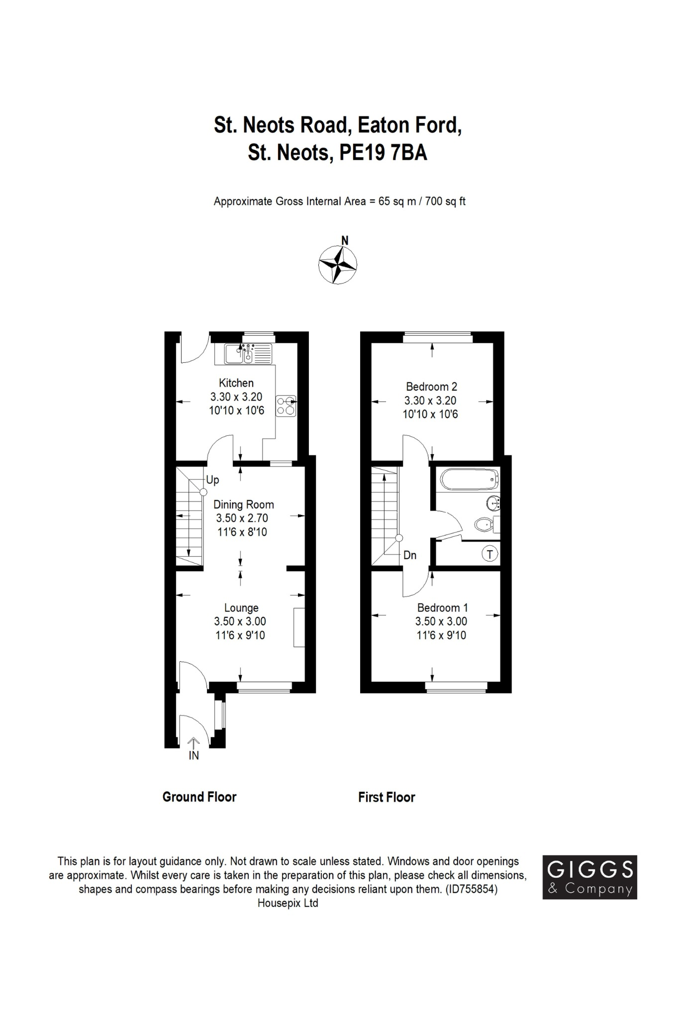 2 bed terraced house for sale in St. Neots Road, St. Neots - Property Floorplan
