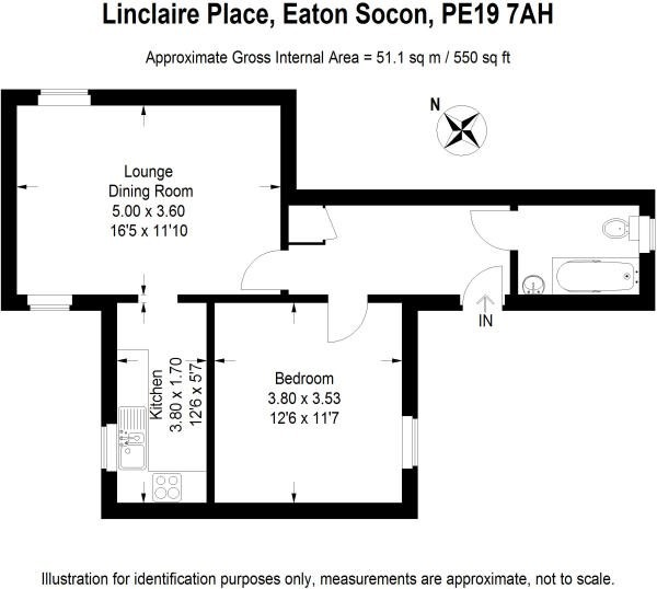 1 bed ground floor flat for sale in Linclare Place, St. Neots - Property Floorplan