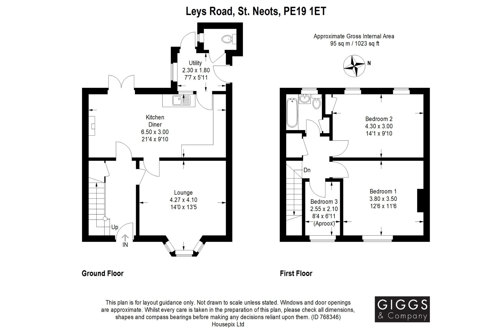 3 bed terraced house for sale in Leys Road, St. Neots - Property Floorplan