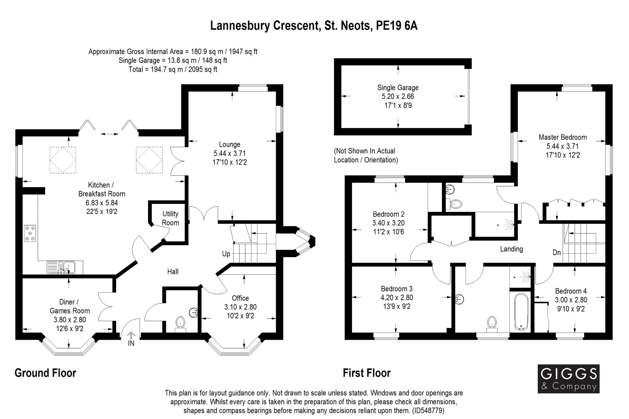 4 bed detached house for sale in Lannesbury Crescent, St. Neots - Property Floorplan