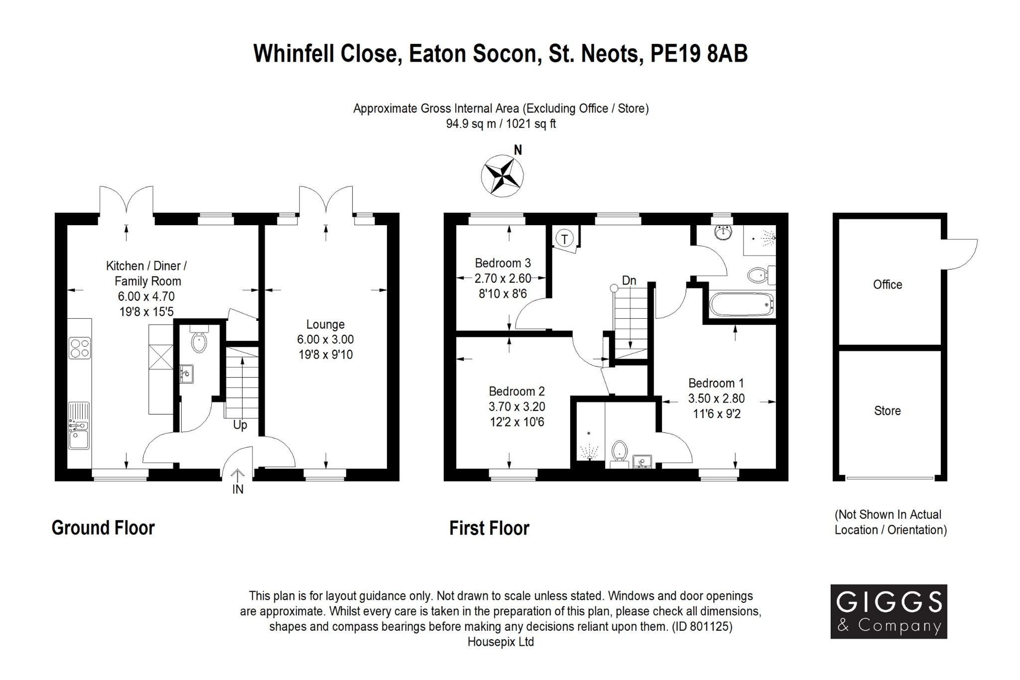 3 bed semi-detached house for sale in Whinfell Close, St. Neots - Property Floorplan