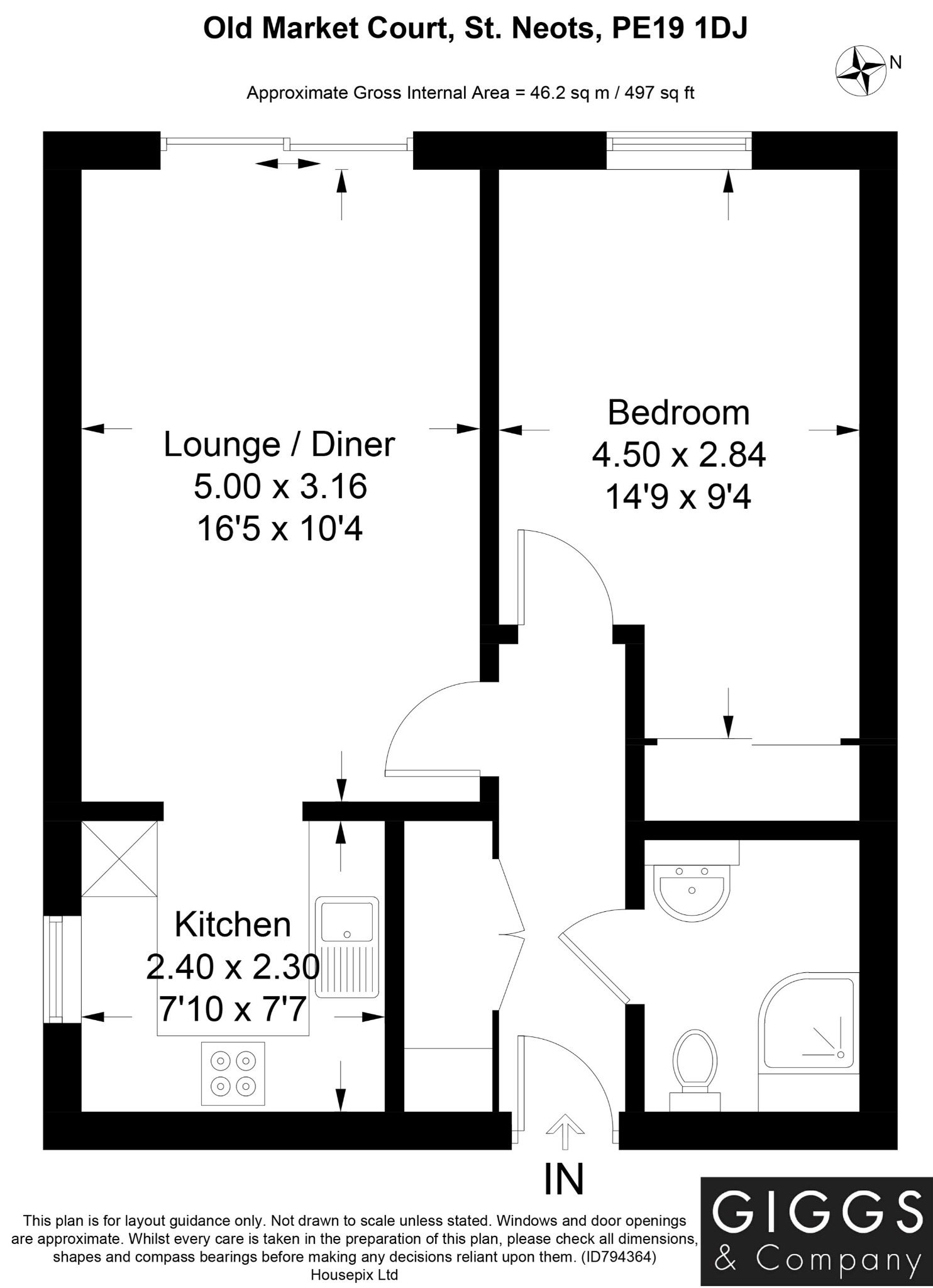 1 bed ground floor flat for sale in Old Market Court, St. Neots - Property Floorplan