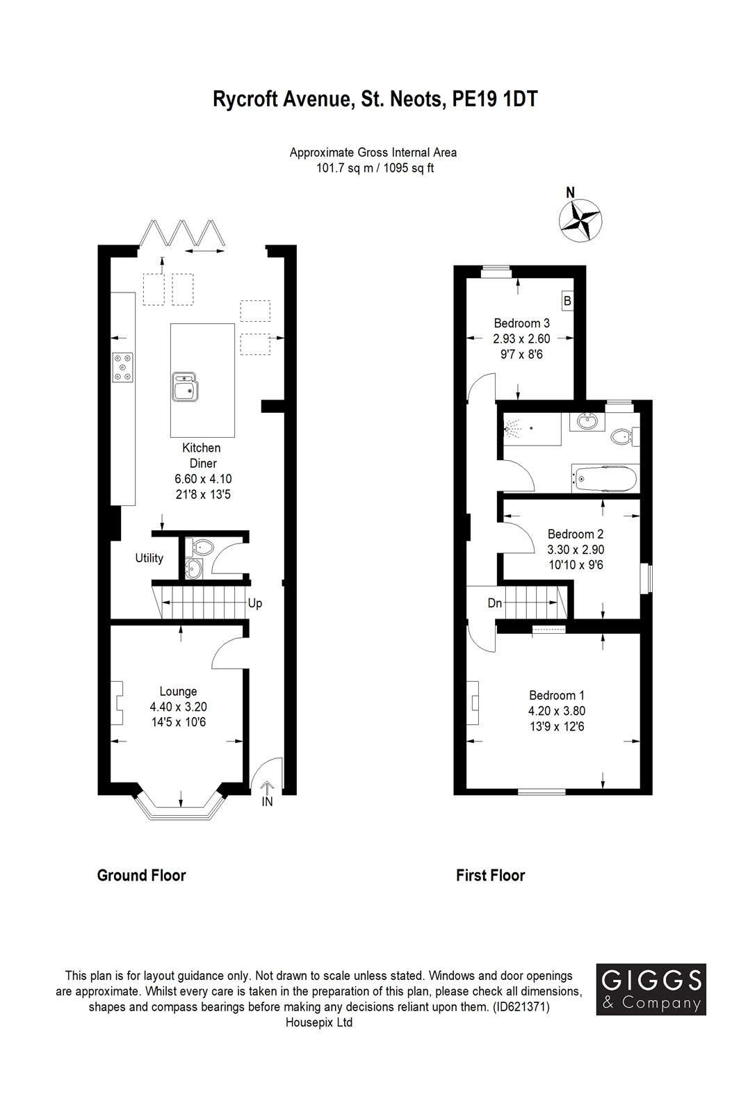 3 bed semi-detached house for sale in Rycroft Avenue, St. Neots - Property Floorplan