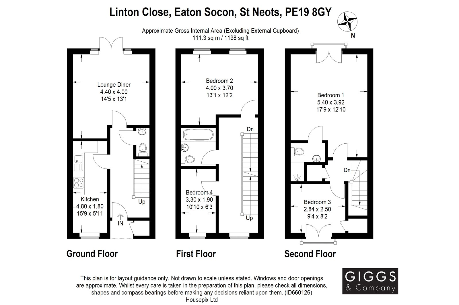 4 bed house for sale in Linton Close, Eaton Socon - Property Floorplan
