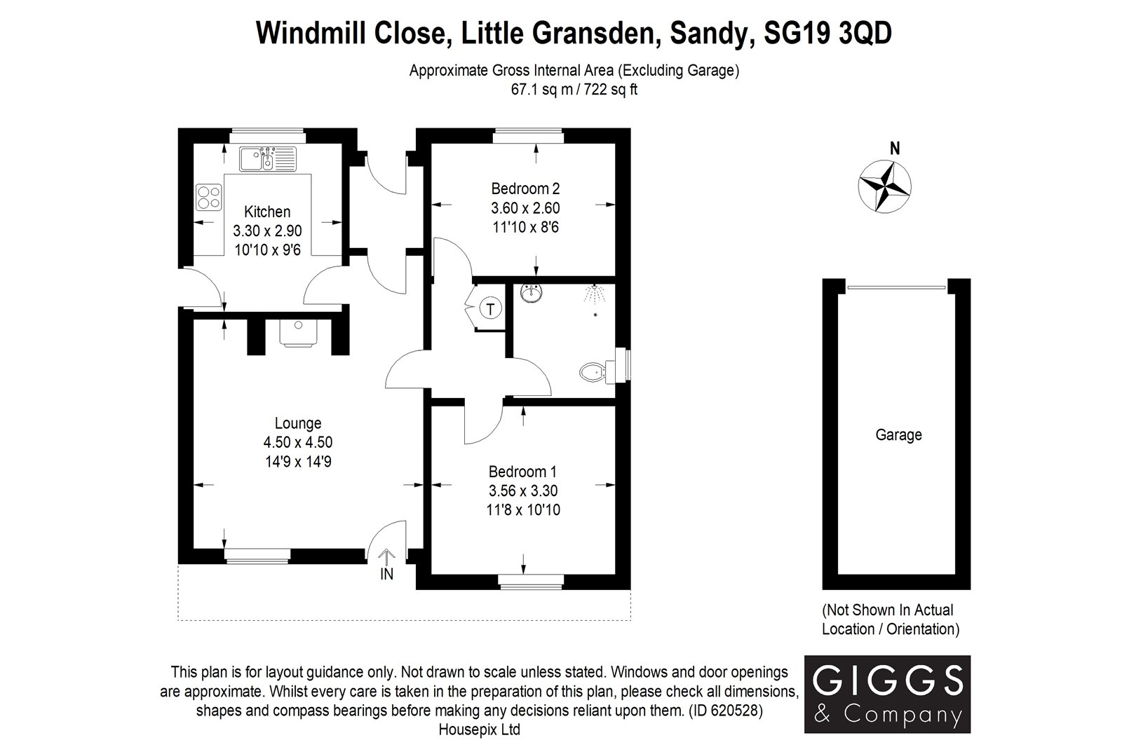 2 bed bungalow for sale in Windmill Close, Little Gransden - Property Floorplan