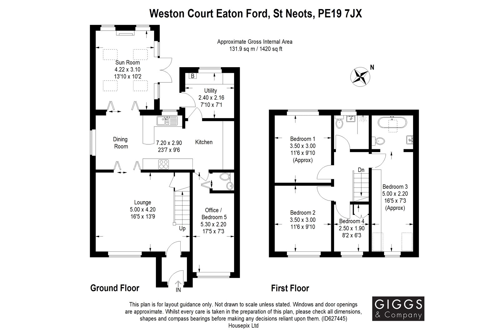 4 bed house for sale in Weston Court, Eaton Ford - Property Floorplan