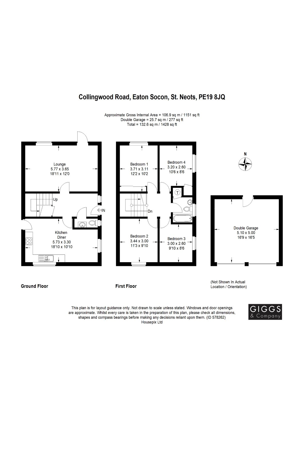 4 bed house for sale in Eaton Socon - Property Floorplan
