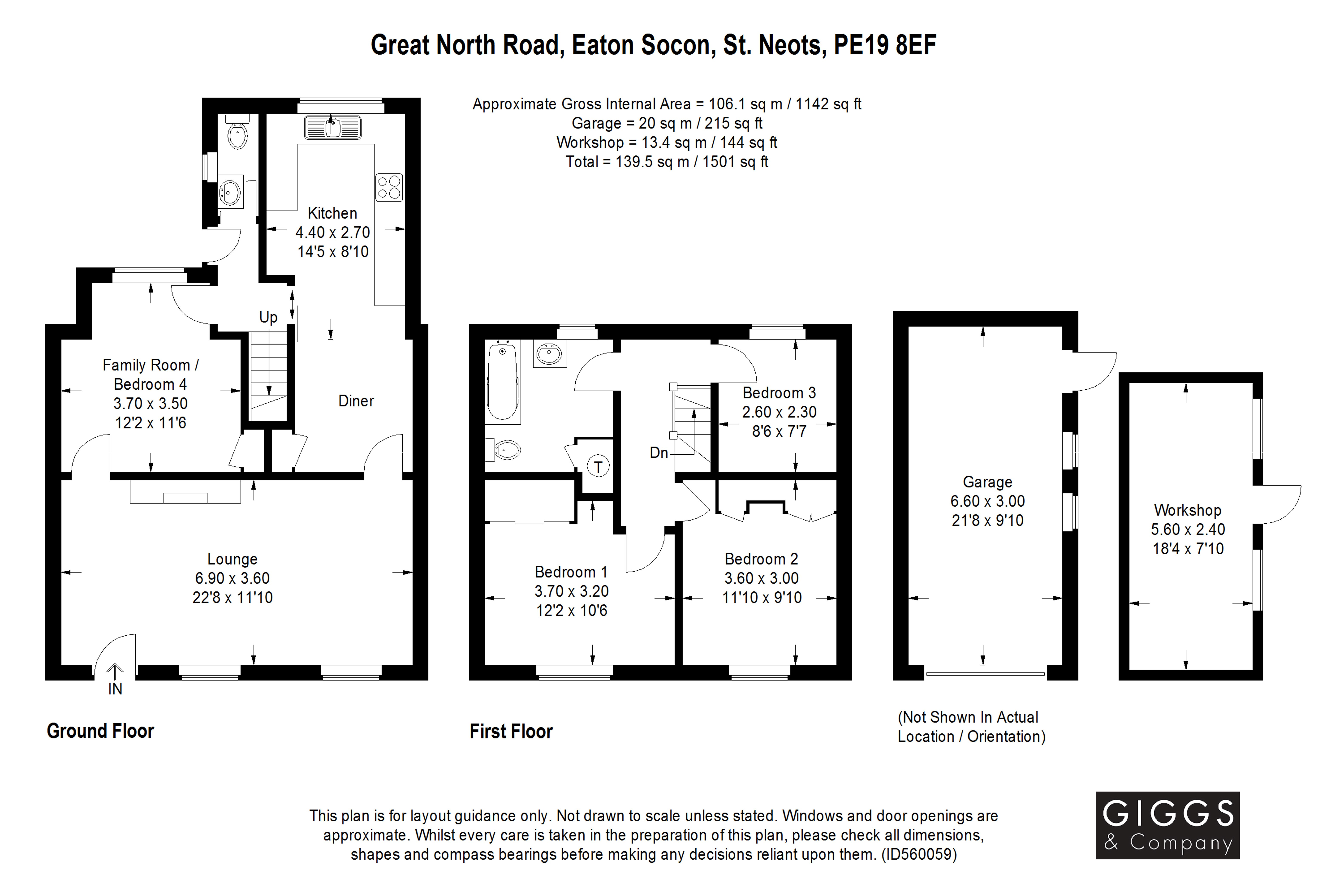 3 bed house for sale in Great North Road, Eaton Socon - Property Floorplan