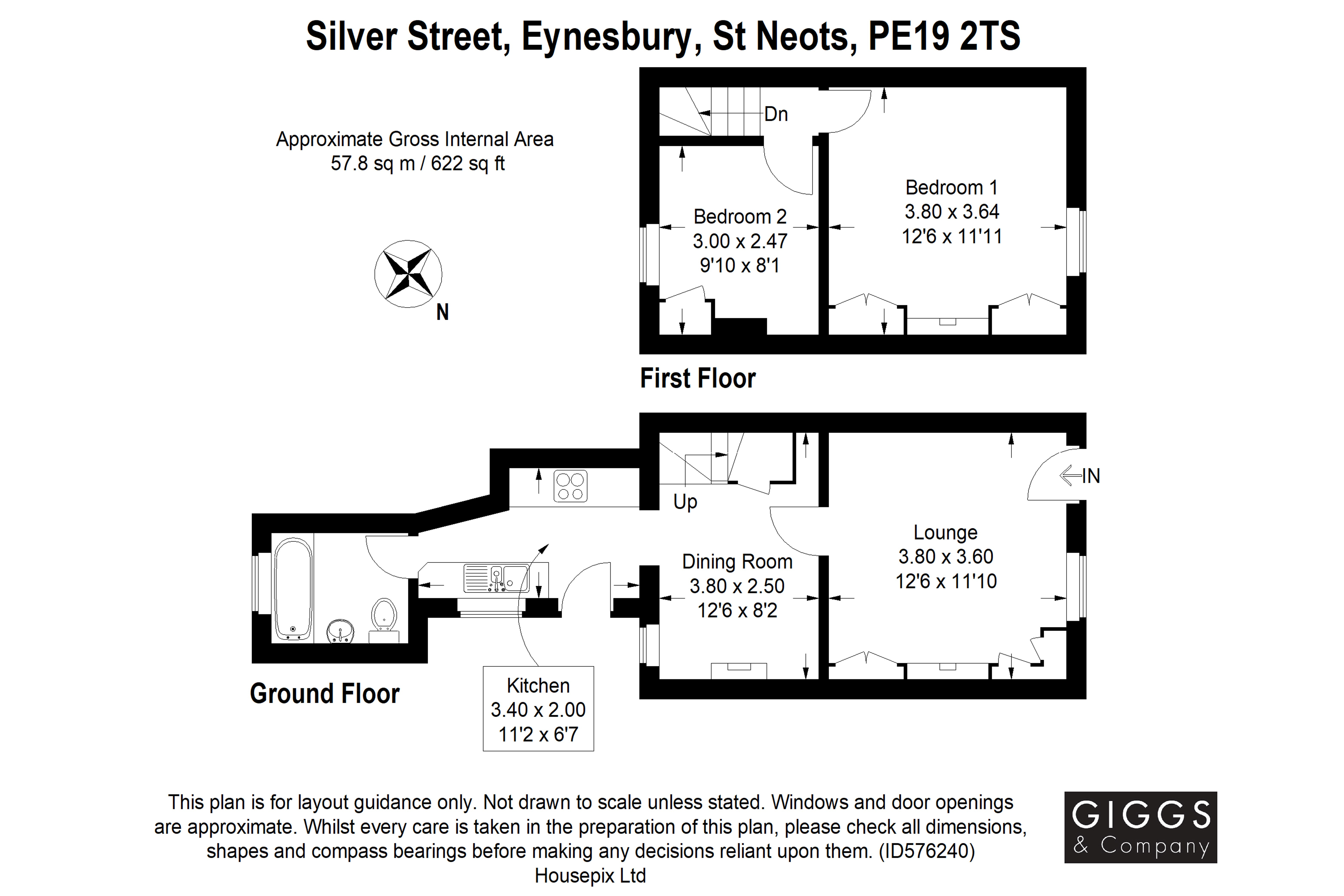 2 bed house for sale in Silver Street, Eynesbury - Property Floorplan