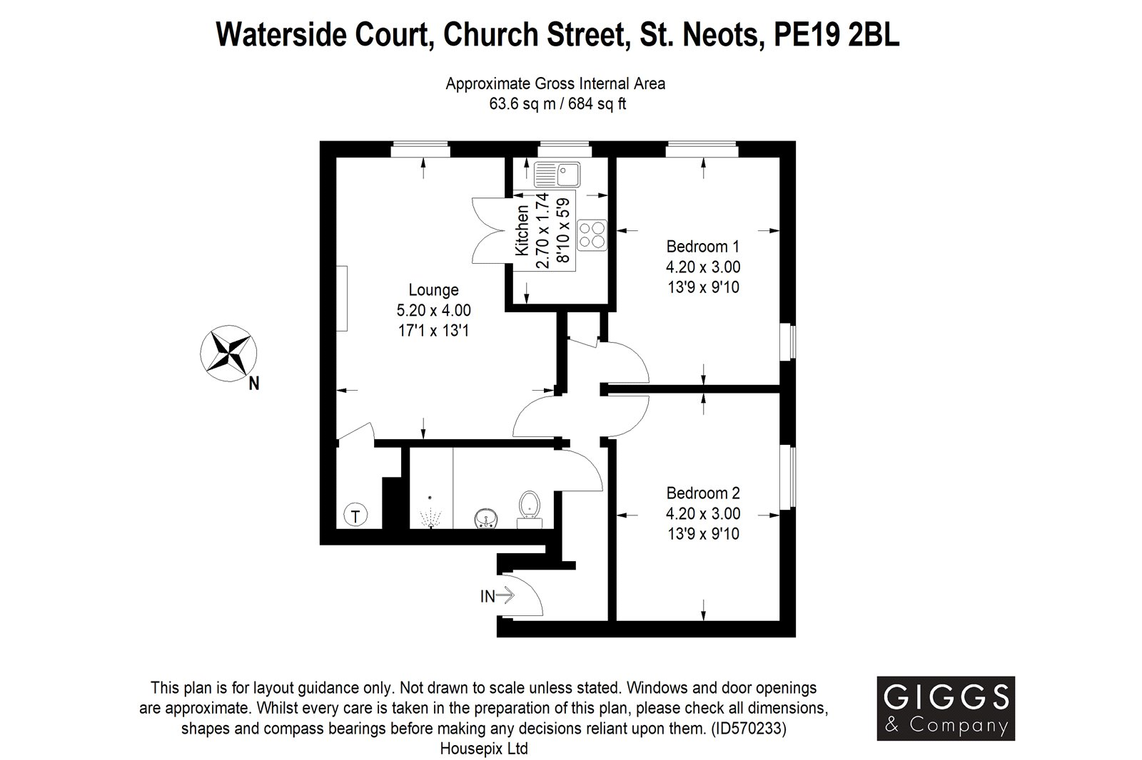 2 bed apartment for sale in Waterside Court, Church Street - Property Floorplan