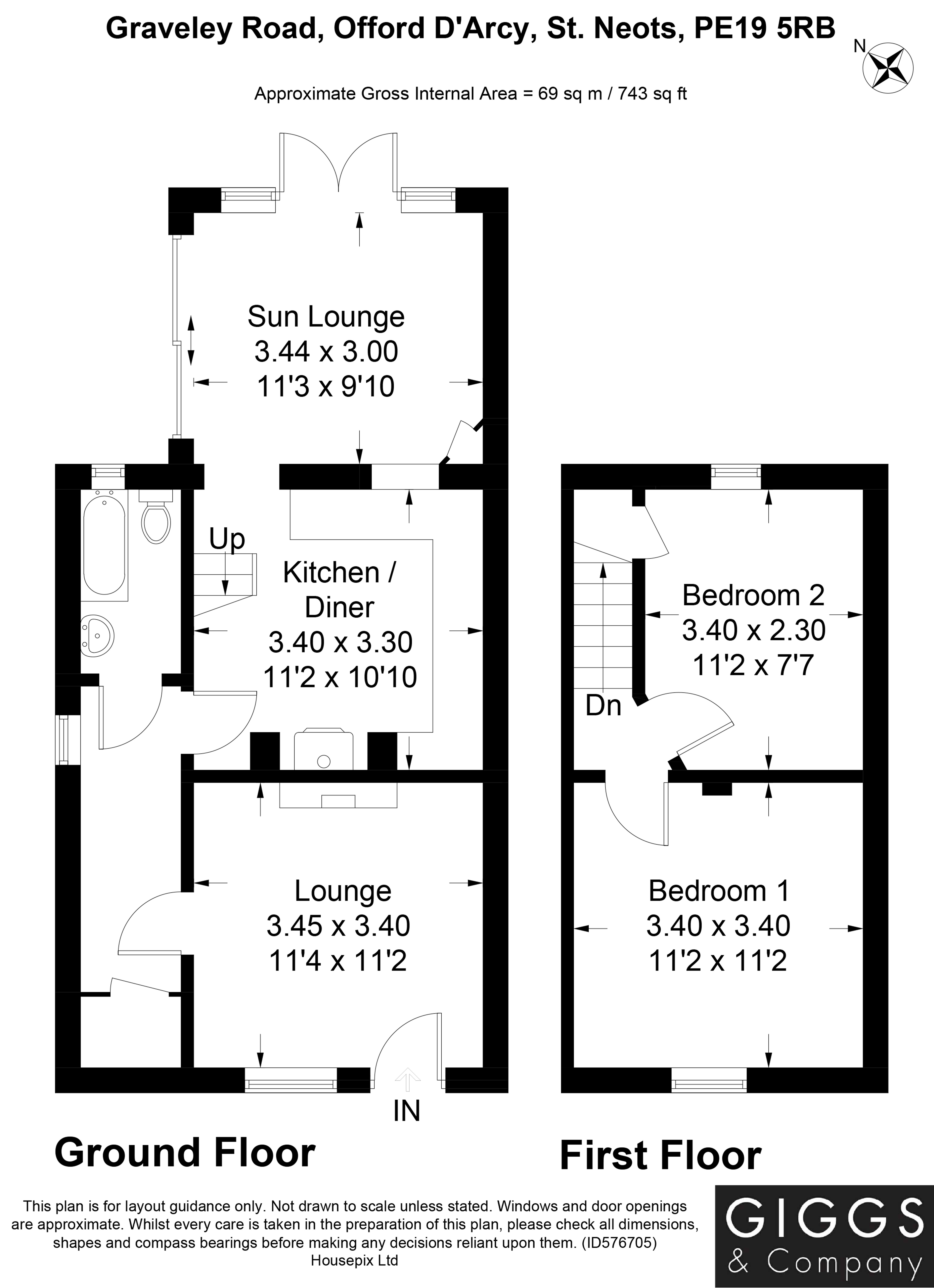 2 bed house for sale in Offord D'arcy - Property Floorplan