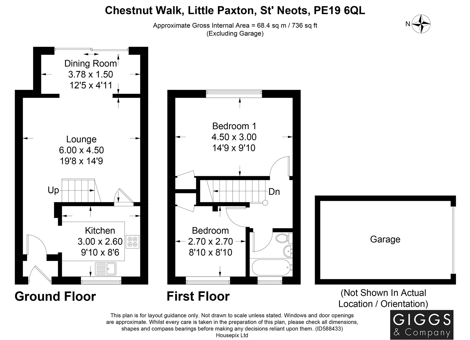 2 bed house for sale in Chestnut Walk, Little Paxton - Property Floorplan