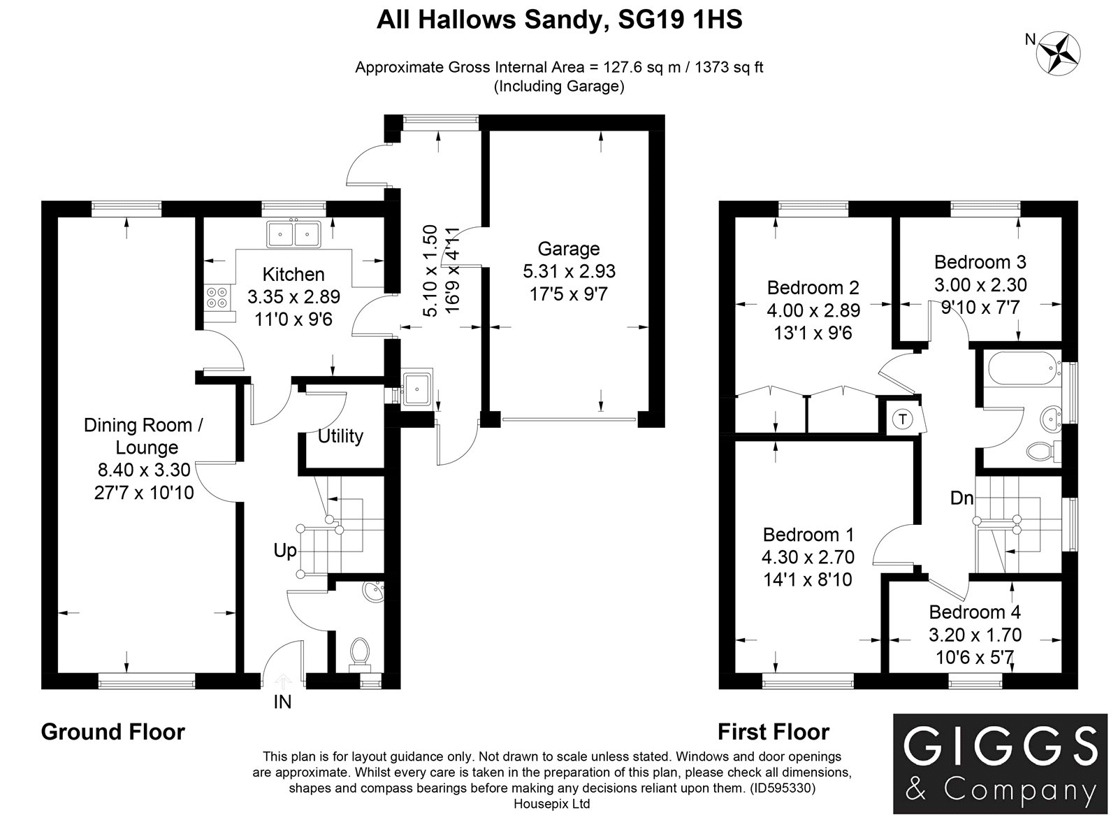 4 bed house for sale in All Hallows, Sandy - Property Floorplan