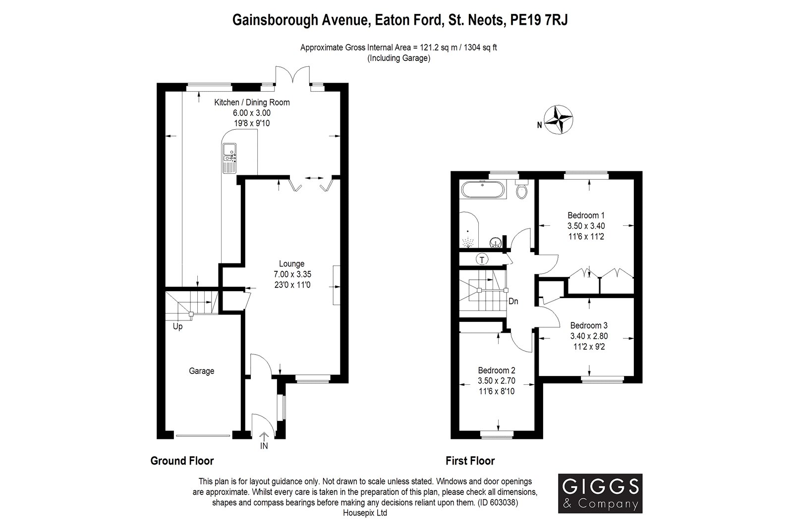 3 bed house for sale in Gainsborough Avenue, Eaton Ford - Property Floorplan
