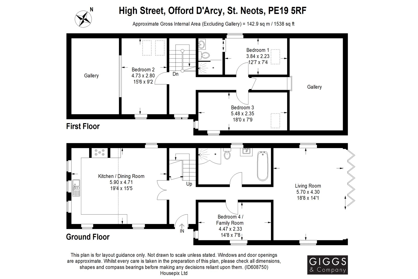 4 bed house for sale in Offord D'Arcy - Property Floorplan