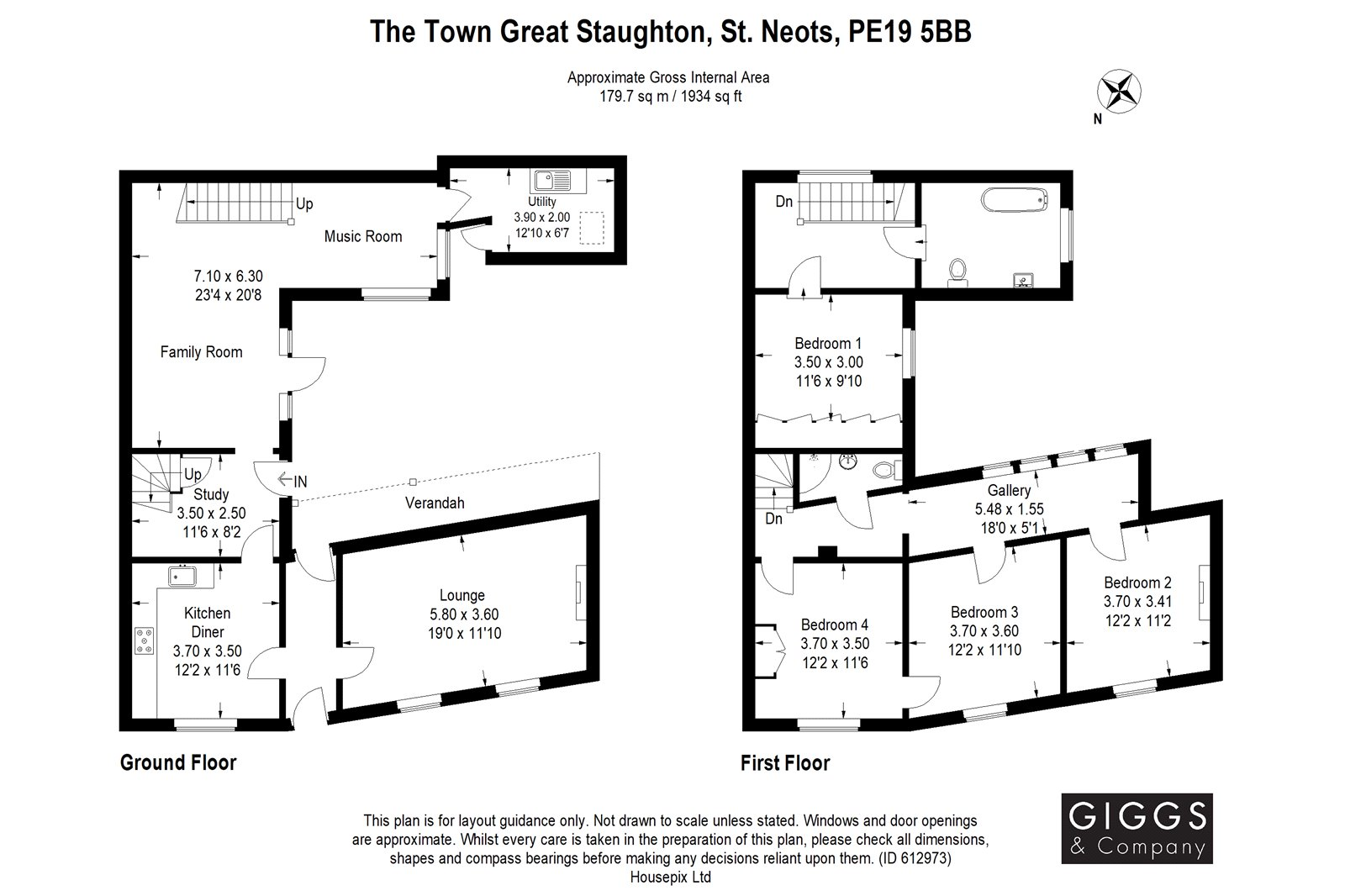 4 bed for sale in The Town, Great Staughton - Property Floorplan
