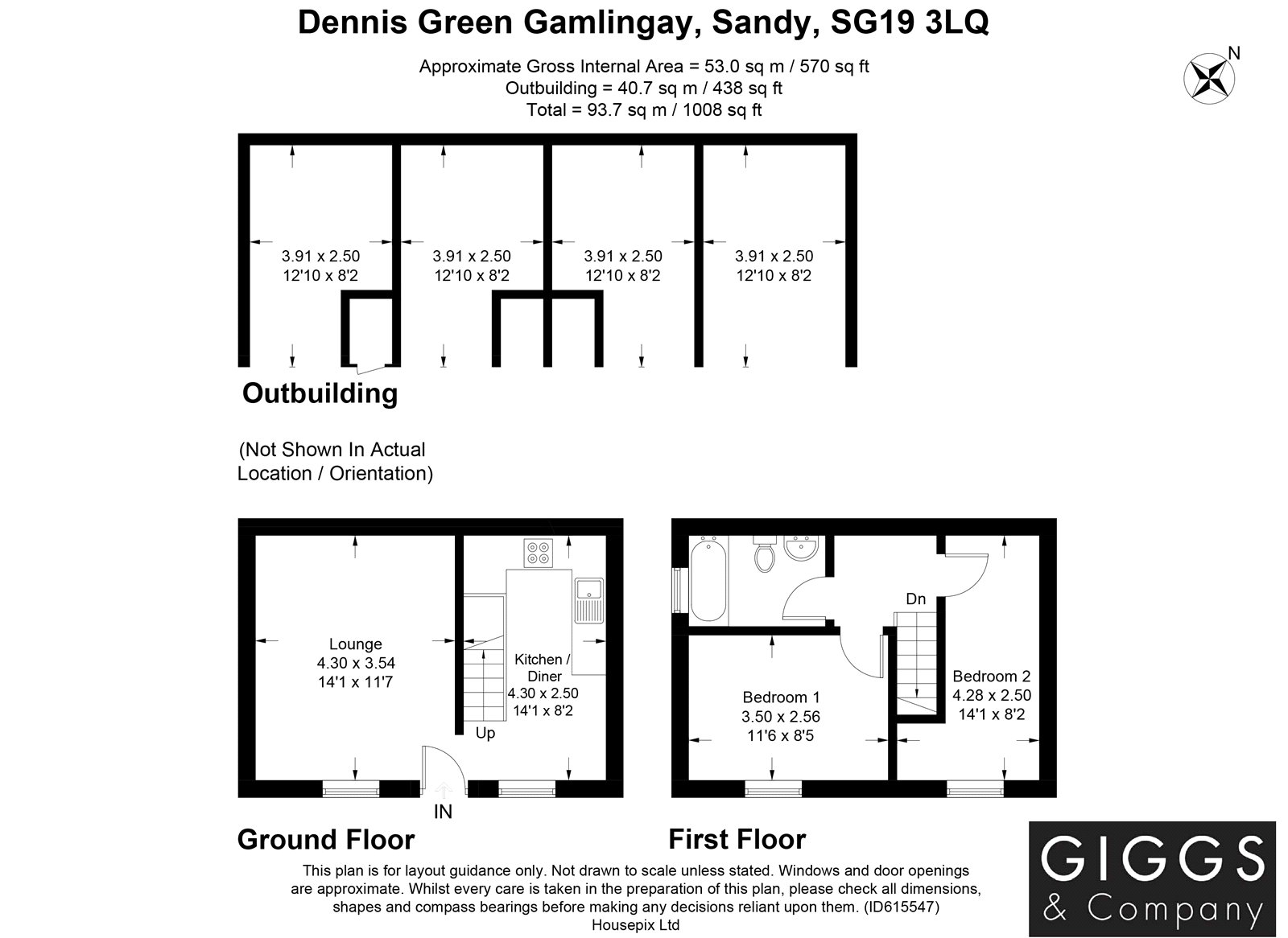 2 bed house for sale in Dennis Green, Gamlingay - Property Floorplan
