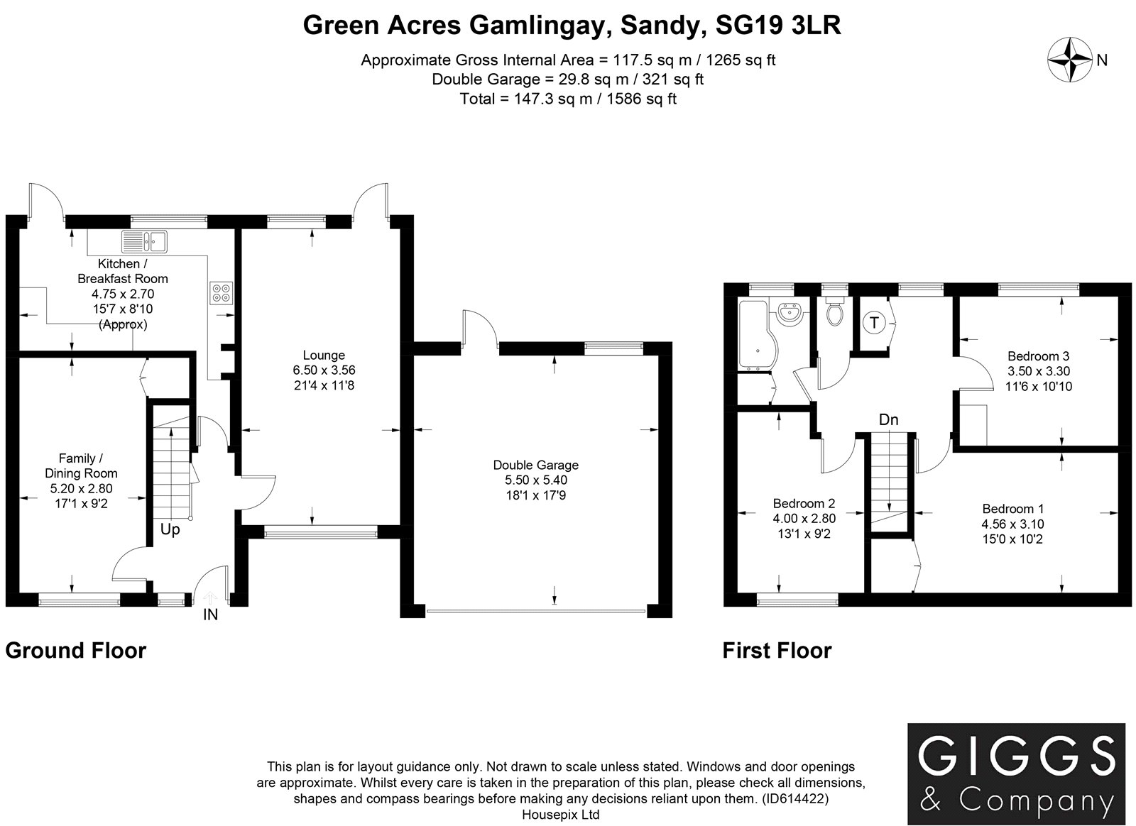 3 bed house for sale in Green Acres, Gamlingay - Property Floorplan