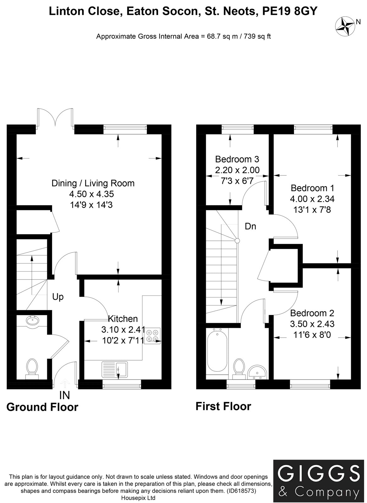3 bed house for sale in Linton Close, Eaton Socon - Property Floorplan