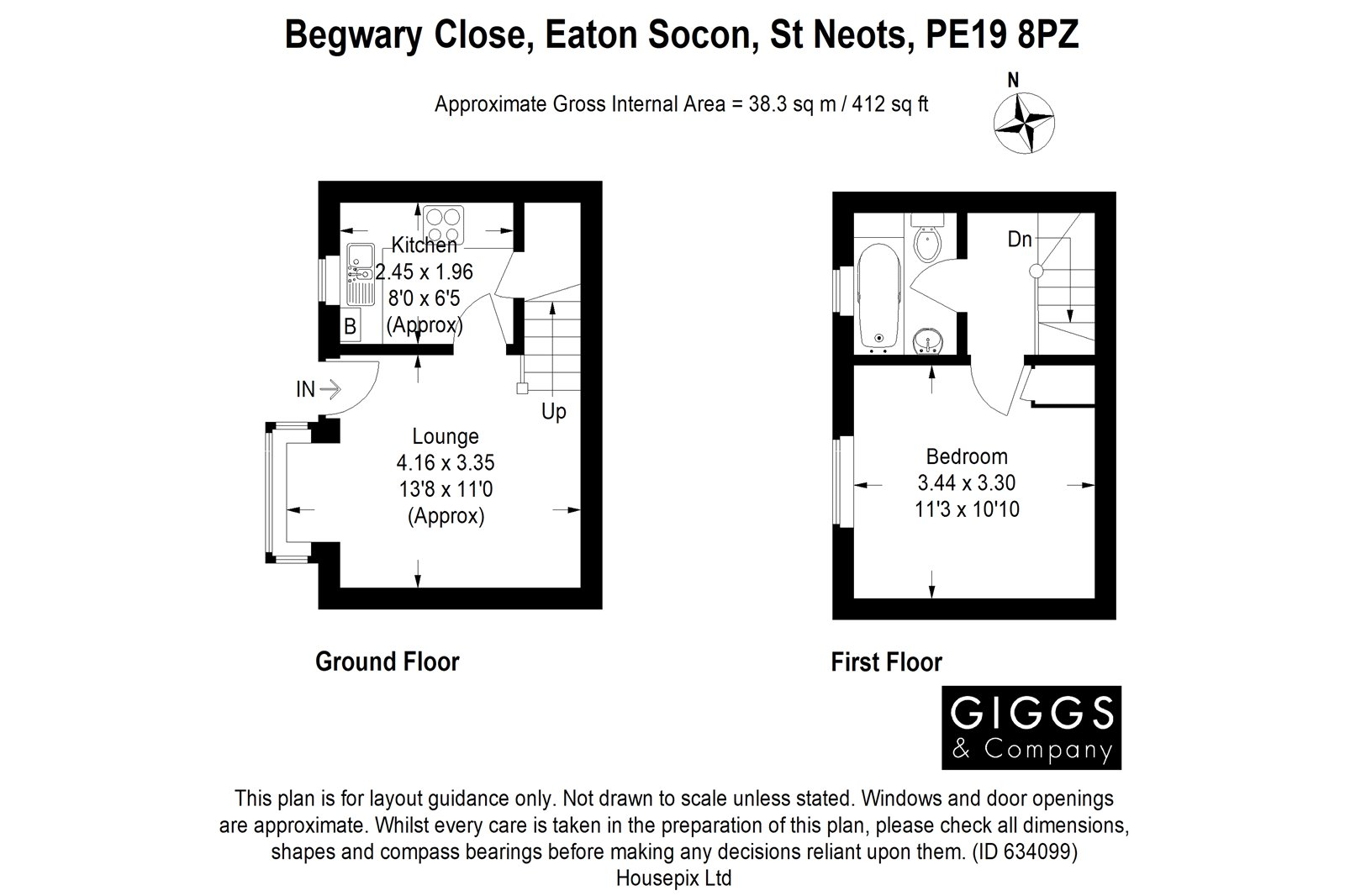 1 bed house for sale in Begwary Close, Eaton Socon - Property Floorplan