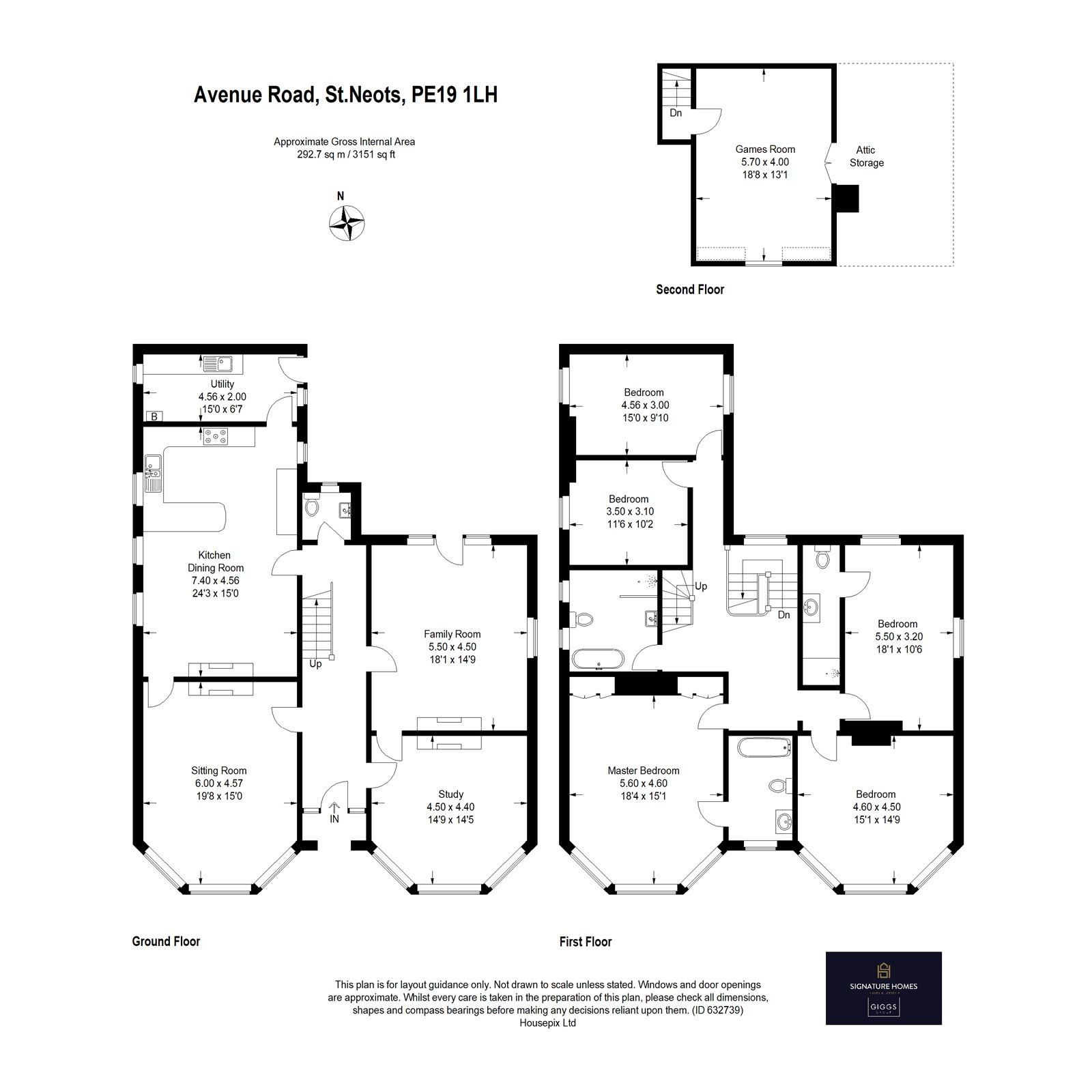 5 bed house for sale in Avenue Road, St. Neots - Property Floorplan
