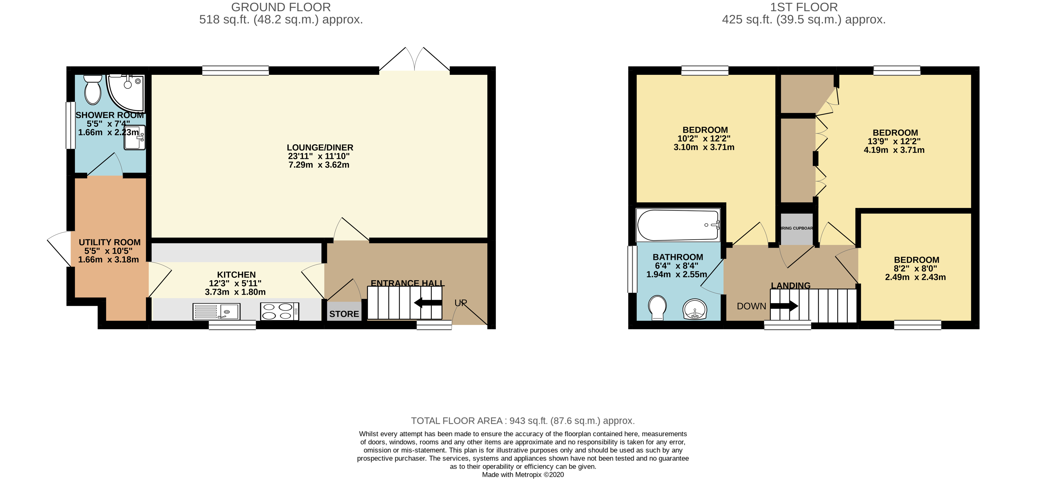 3 bed house for sale in The Sycamores, Little Paxton - Property Floorplan