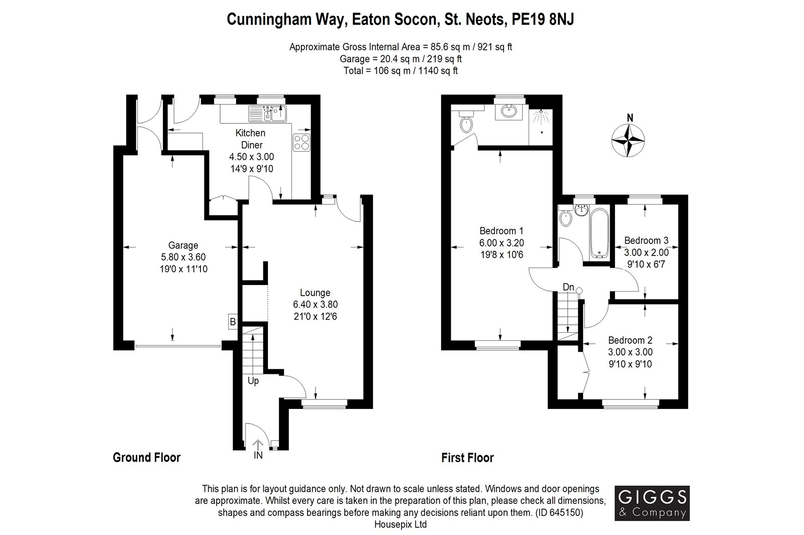 3 bed house for sale in Cunningham Way, Eaton Socon - Property Floorplan