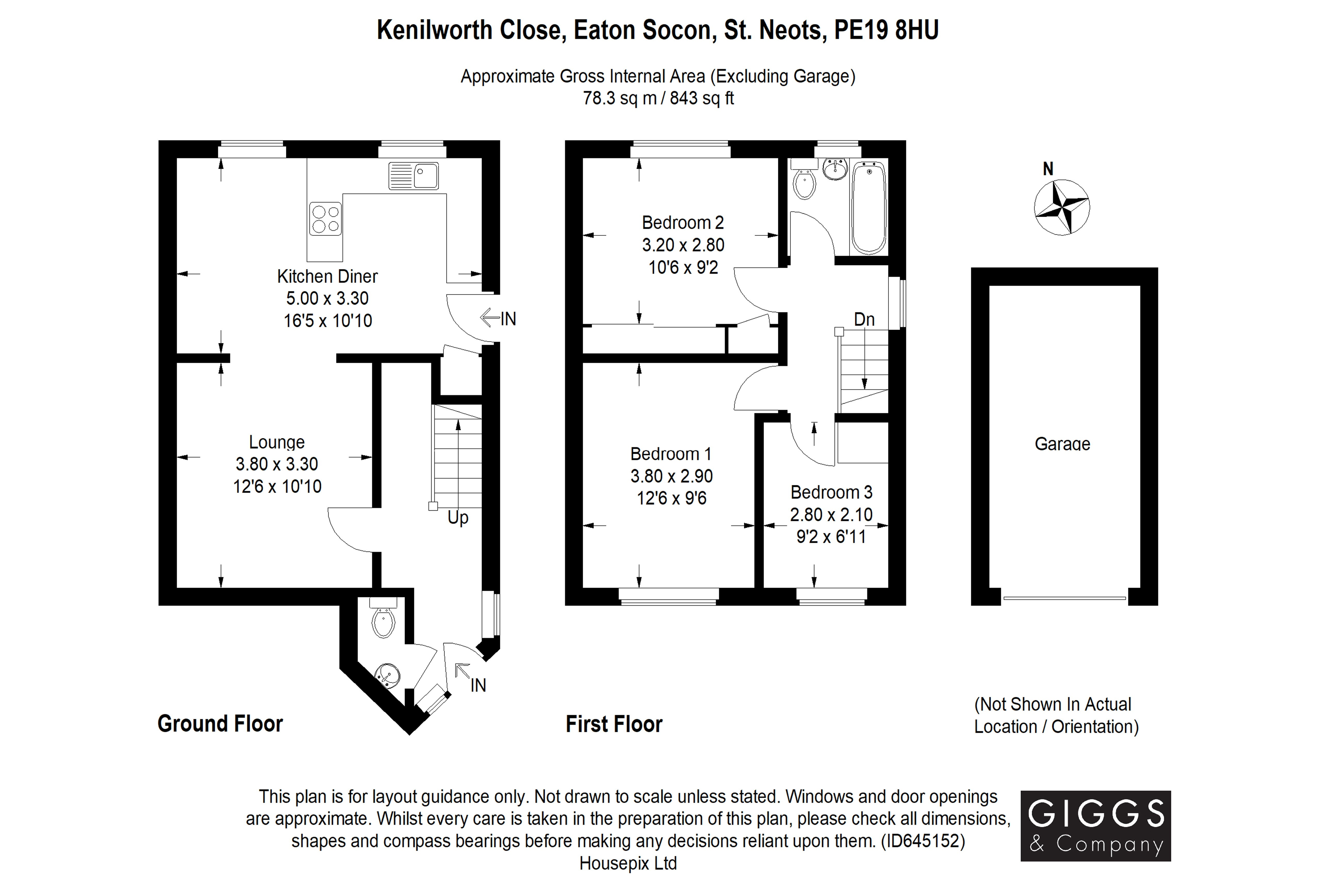 3 bed house for sale in Kenilworth Close, Eaton Socon - Property Floorplan