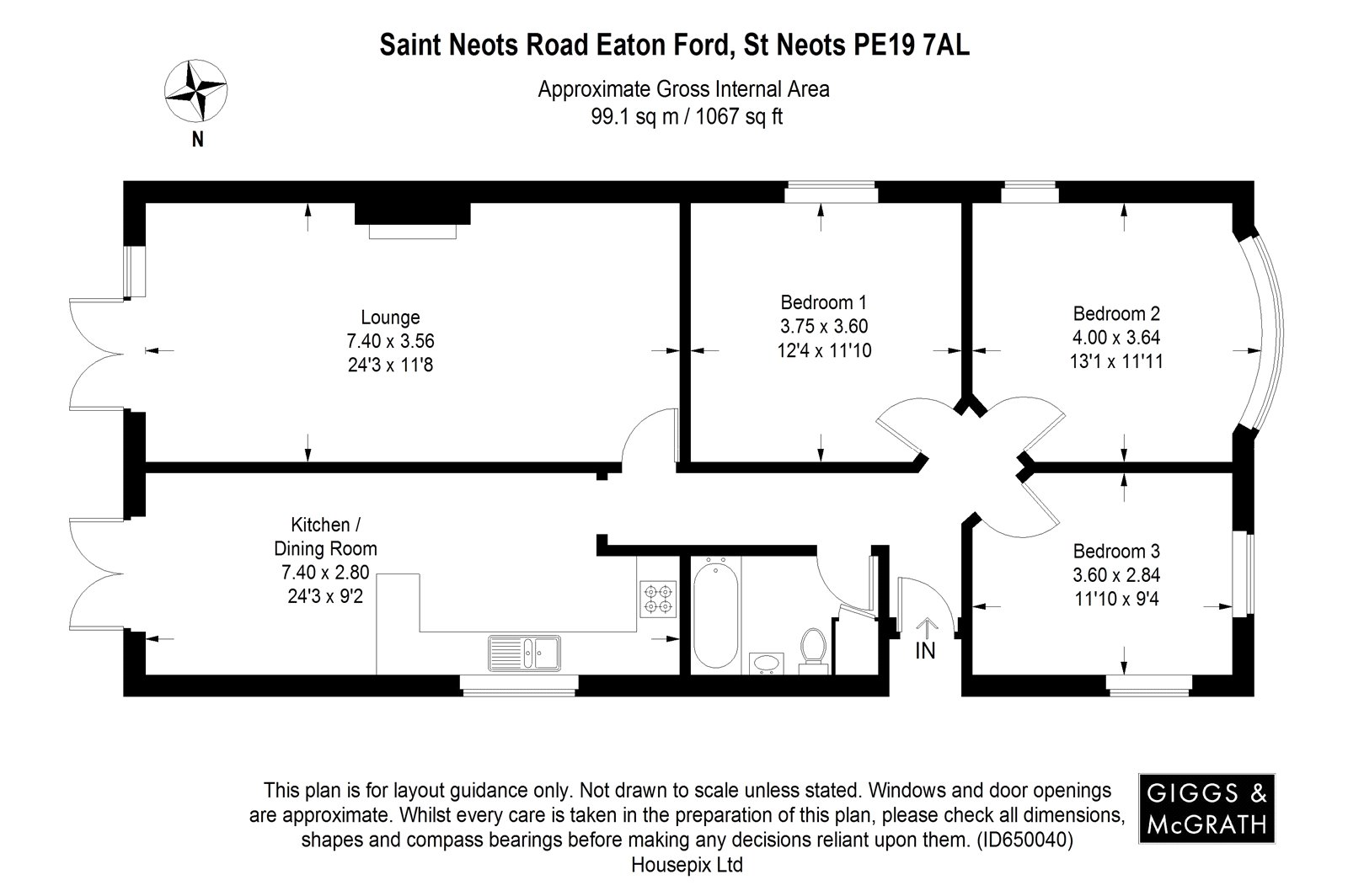 3 bed bungalow for sale in St Neots Road, Eaton Ford - Property Floorplan