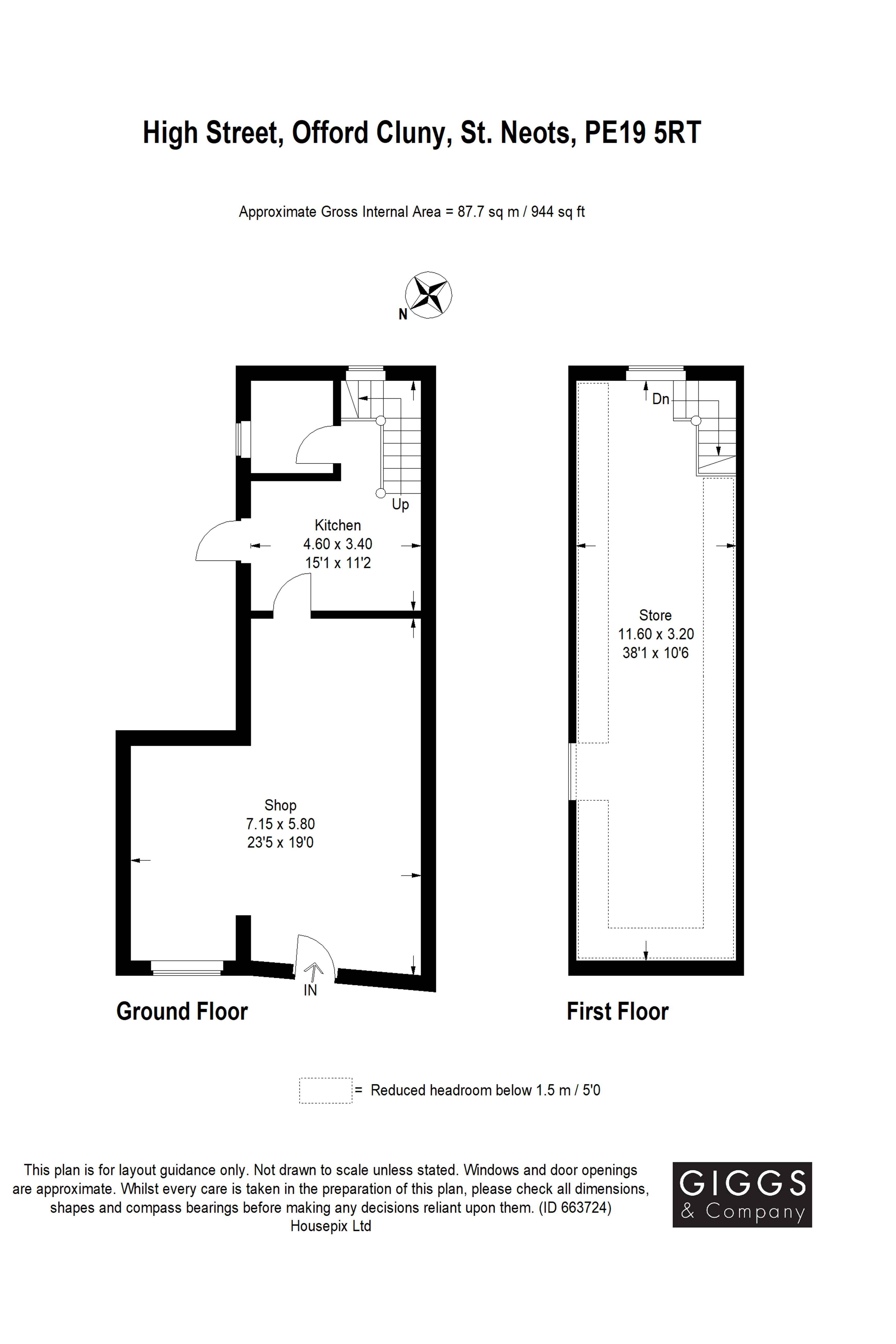 4 bed house for sale in High Street, Offord Cluny - Property Floorplan